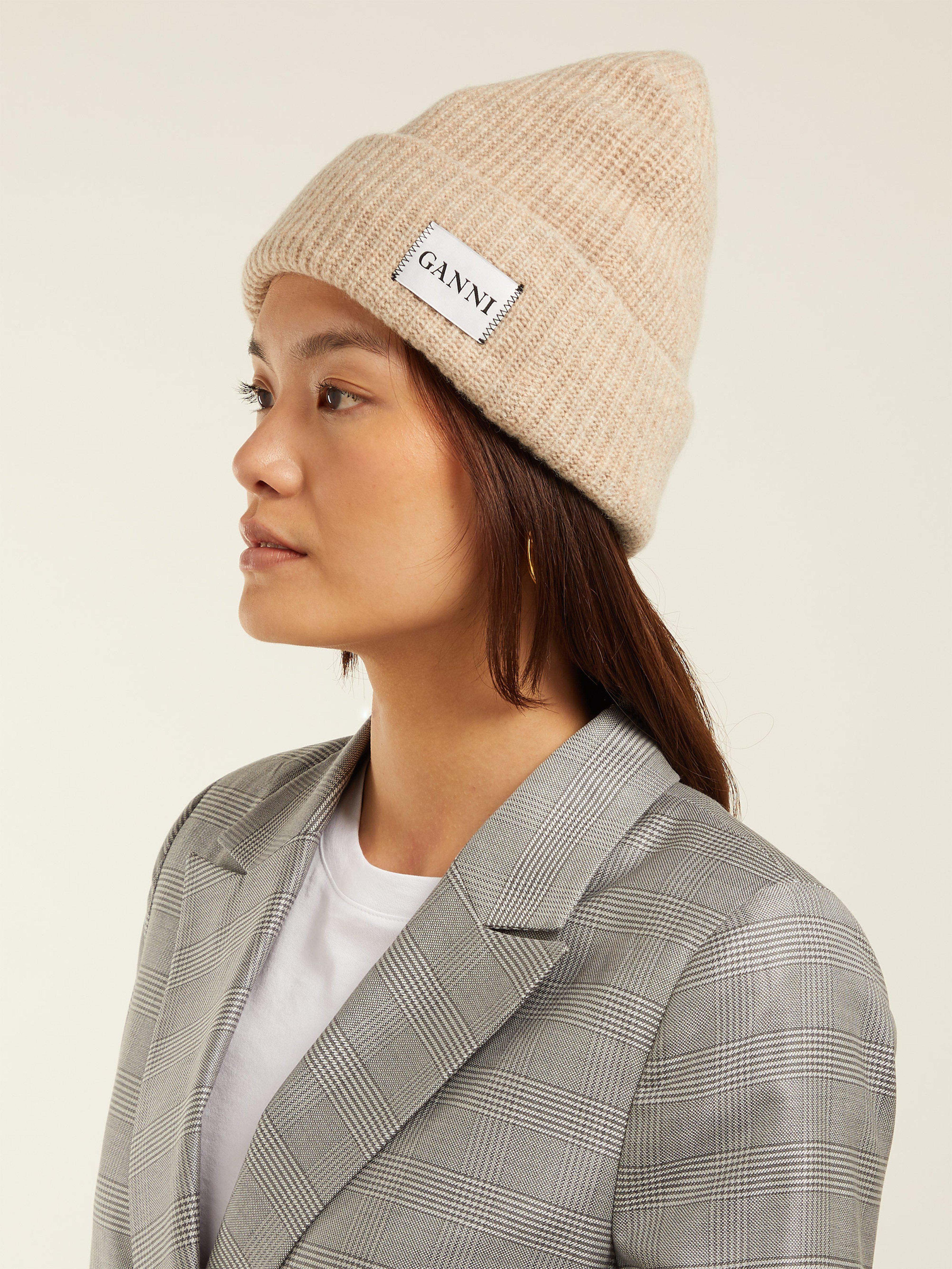 Ganni Hatley Wool Blend Beanie Hat in Natural - Lyst cd352f30b604
