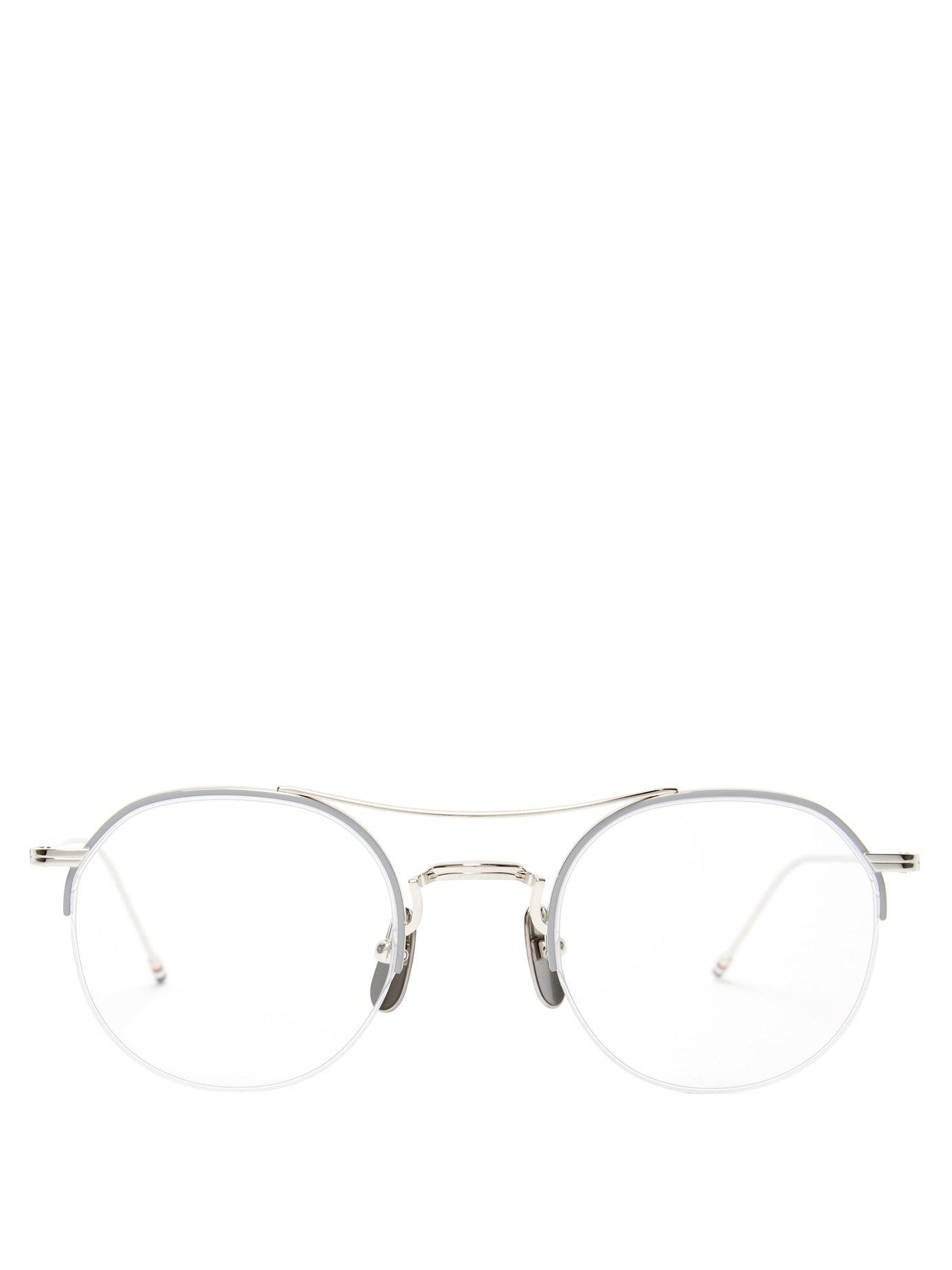 d382b8fc3a5b Lyst - Thom Browne Round Metal Optical Glasses in Metallic for Men