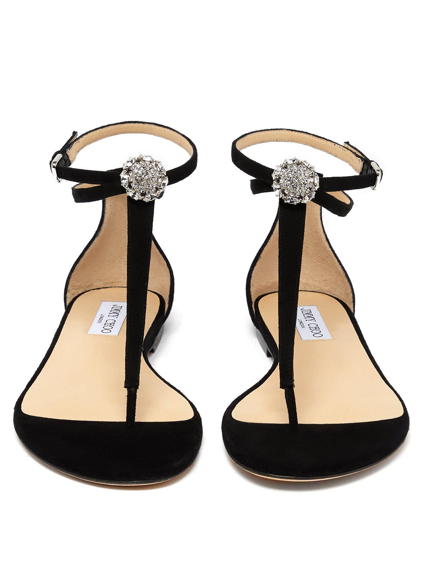 e593b39b53282 Lyst - Jimmy Choo Afia Crystal-embellished Suede Sandals in Black