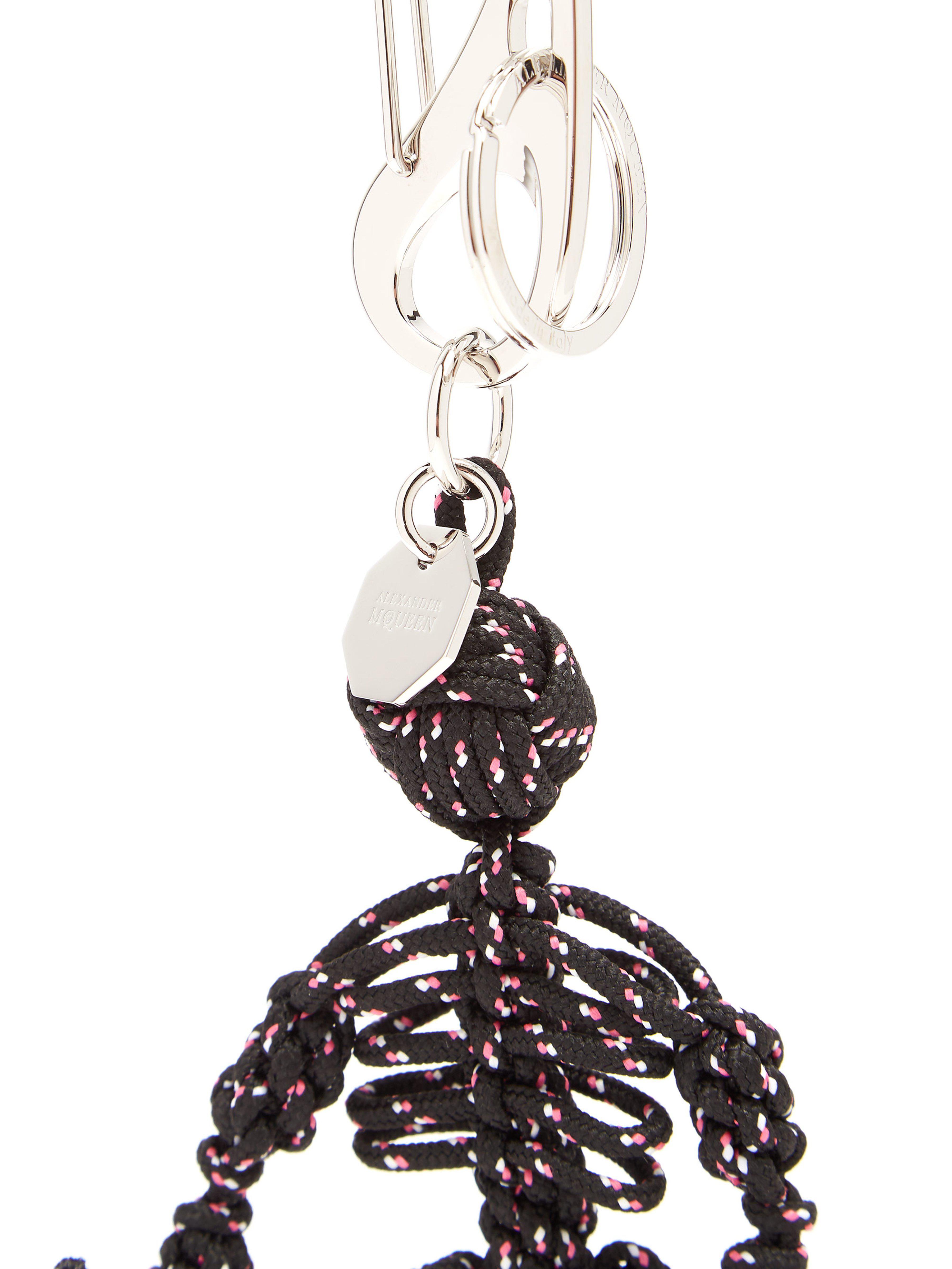 Alexander McQueen Braided Cord Skeleton Key Ring in Black for Men