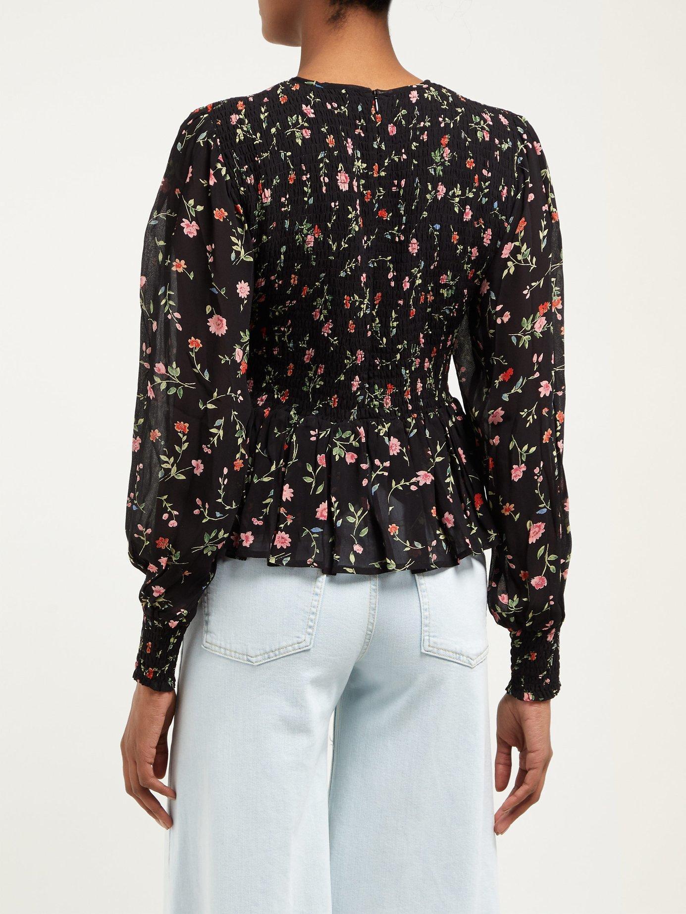 b4d352ac Ganni - Black Elm Shirred Floral Print Georgette Blouse - Lyst. View  fullscreen