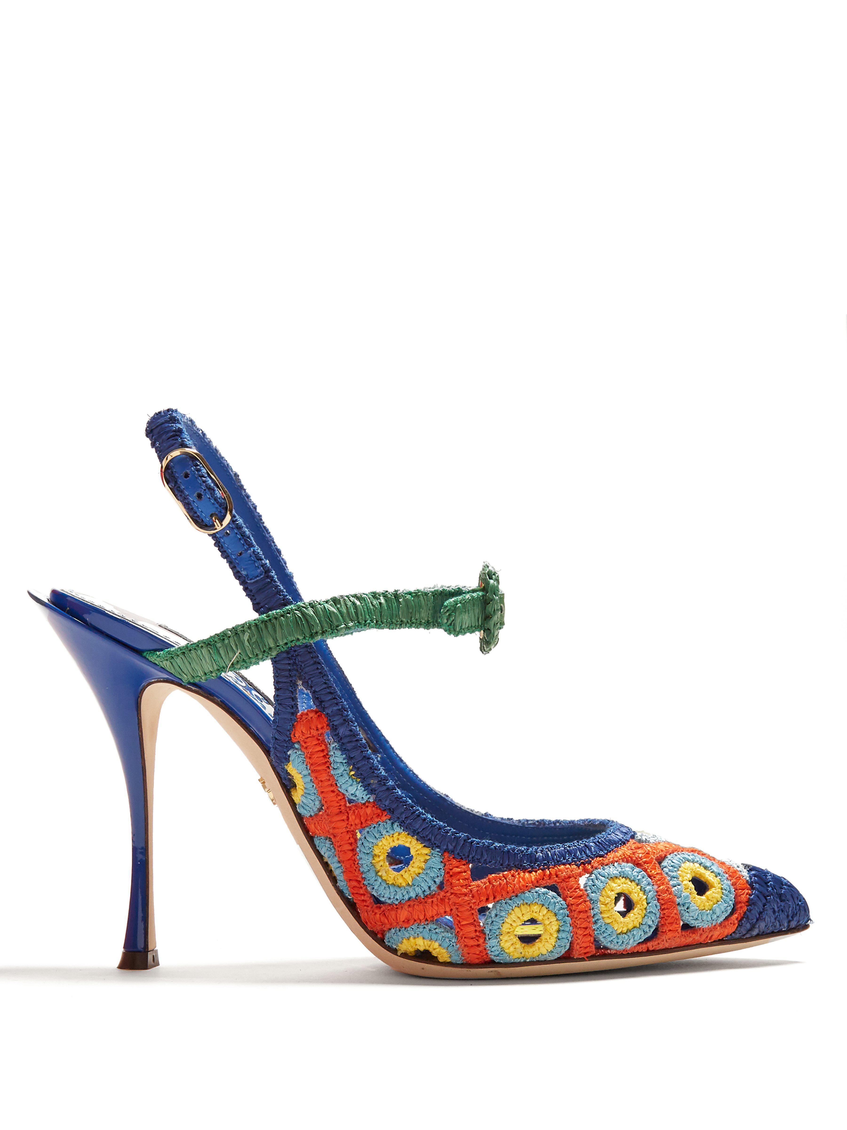 7edc2fc9e41 Dolce   Gabbana Majolica Woven Wicker Slingback Pumps in Blue - Lyst