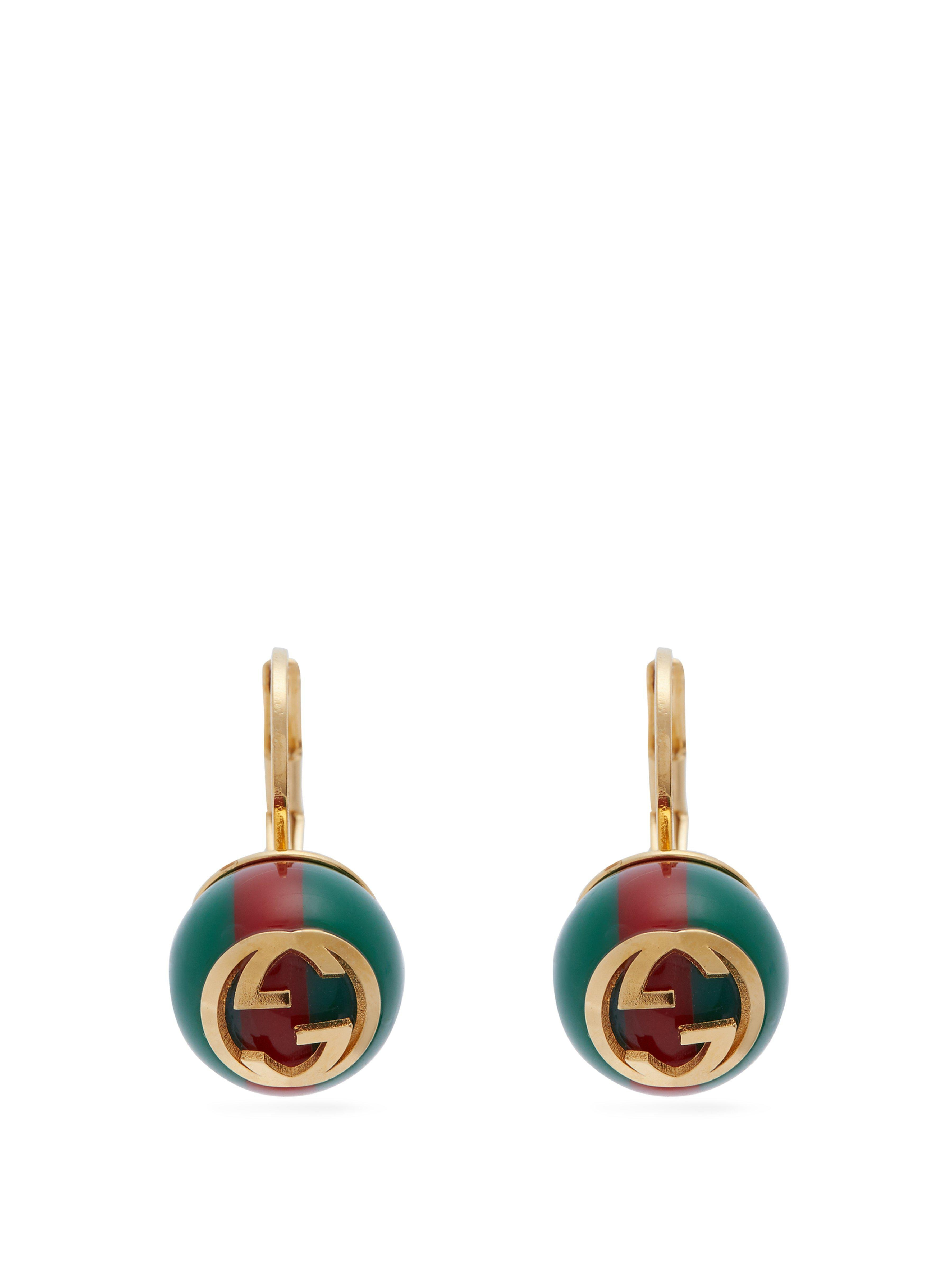 abb487c677f Gucci Tennis Crystal Embellished Brass Drop Earrings in Green - Save ...
