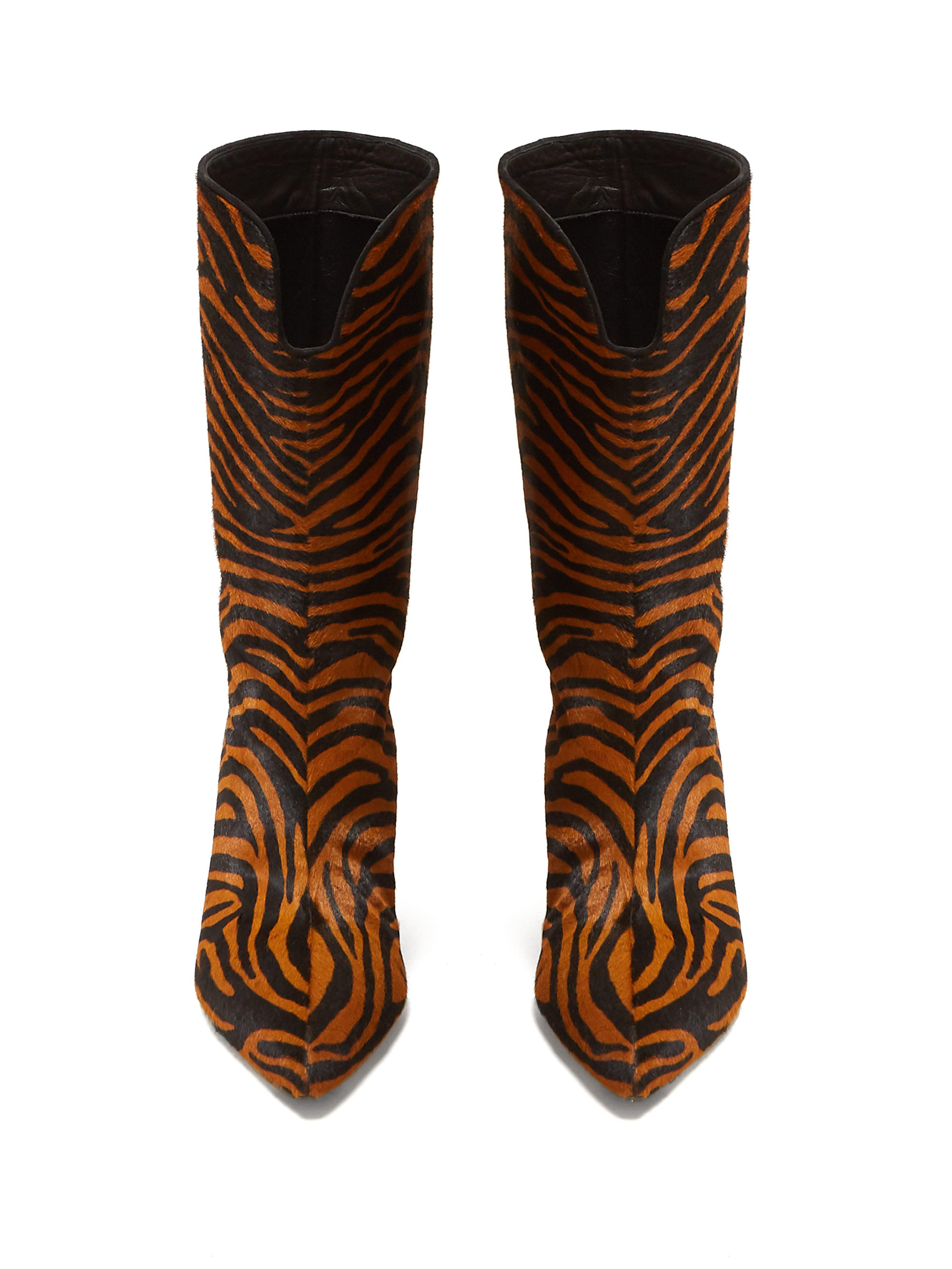 517e6a0d08d The Attico Brown Betta Crystal-embellished Tiger-print Calf Hair Knee Boots