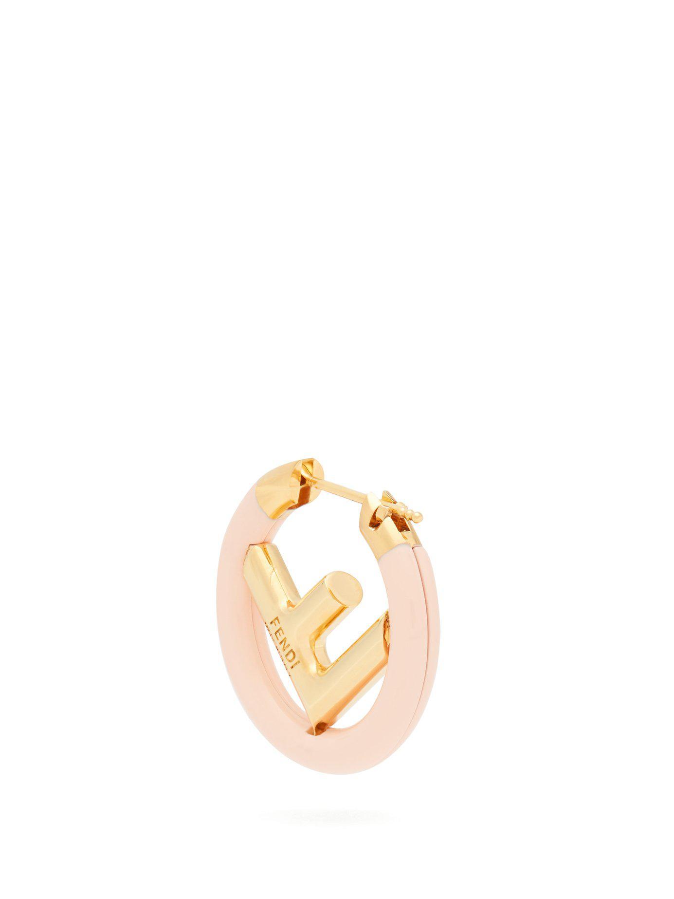 87190b647e0af9 Fendi F Is Hoop Single Earring in Pink - Lyst