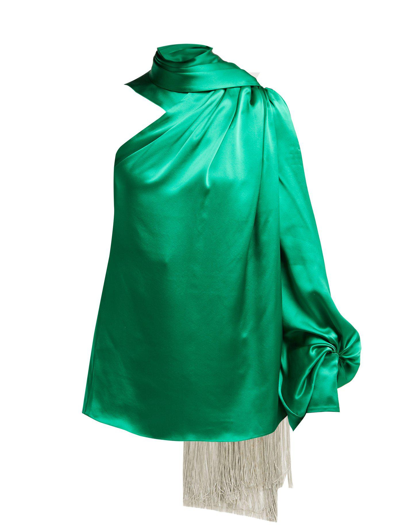 1e477bc61307a Lyst - Hillier Bartley One Shoulder Silk Satin Blouse in Green
