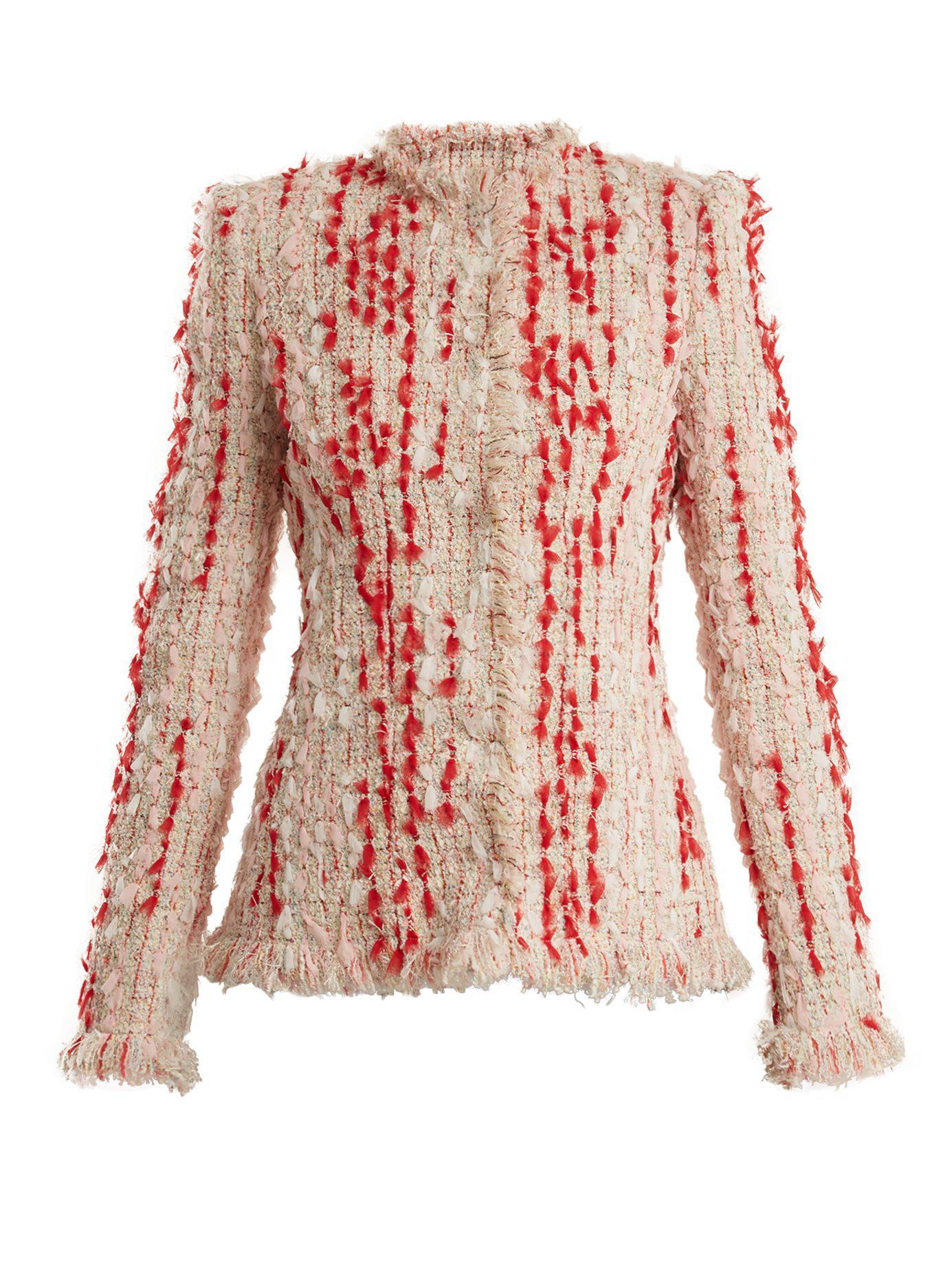 Lyst - Blazer en tweed à ourlet effrangé Alexander Mcqueen 471fb1a7903
