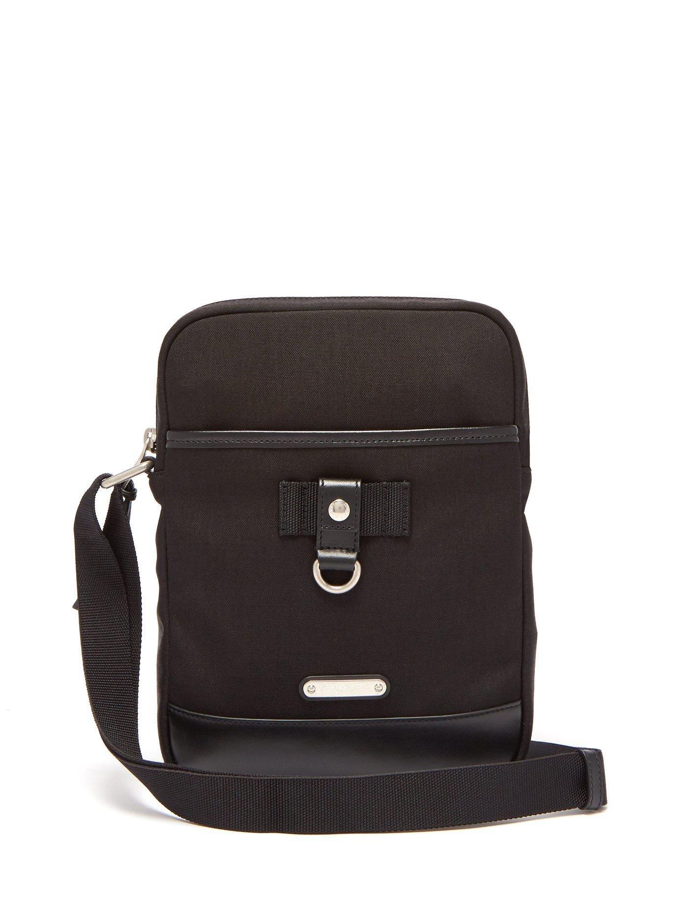 c9b77134e6c0 Lyst - Saint Laurent Rivington Canvas Cross Body Bag in Black for ...