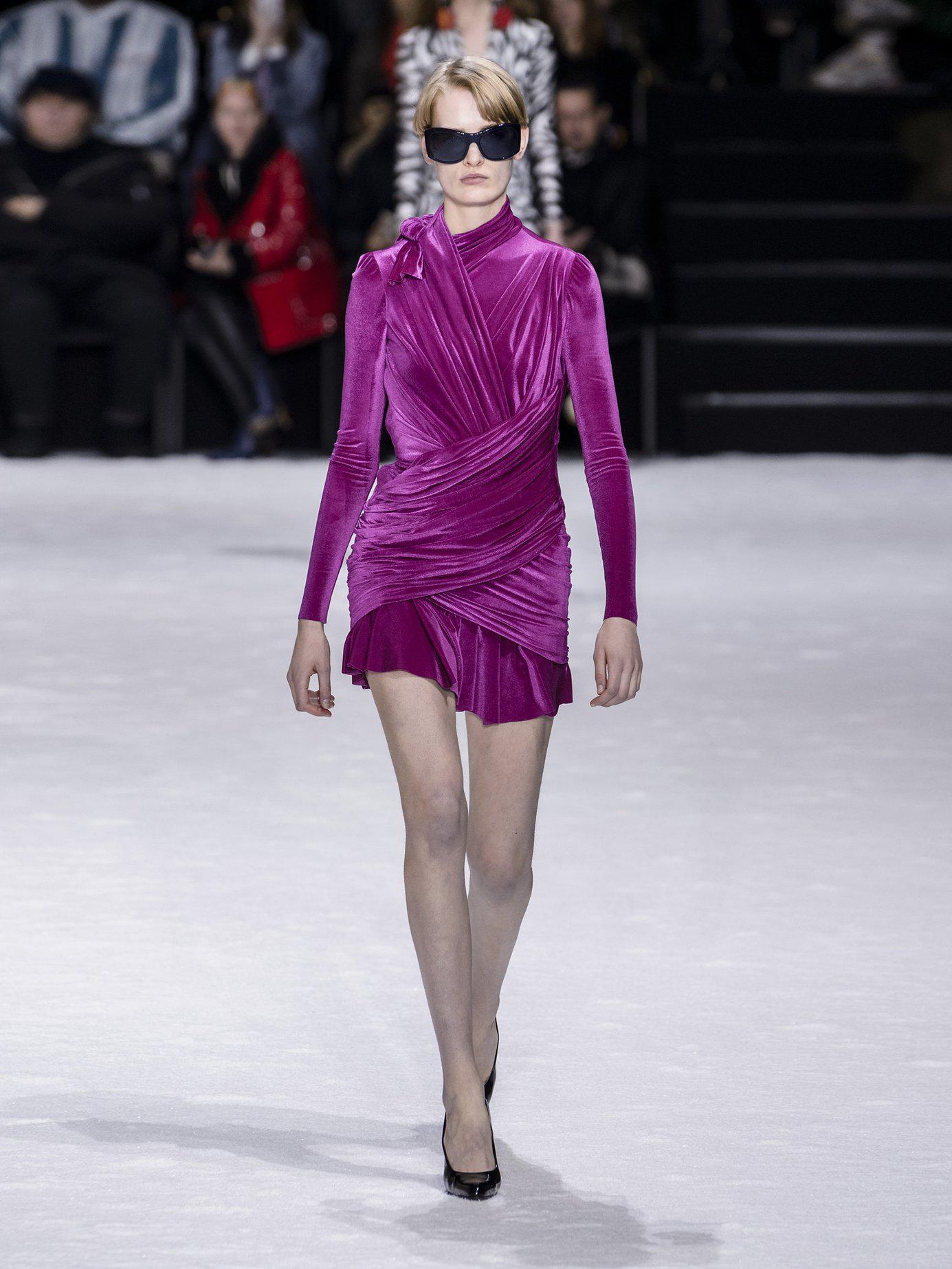 6865b62a139 Balenciaga Draped Velvet Mini Dress in Pink - Lyst