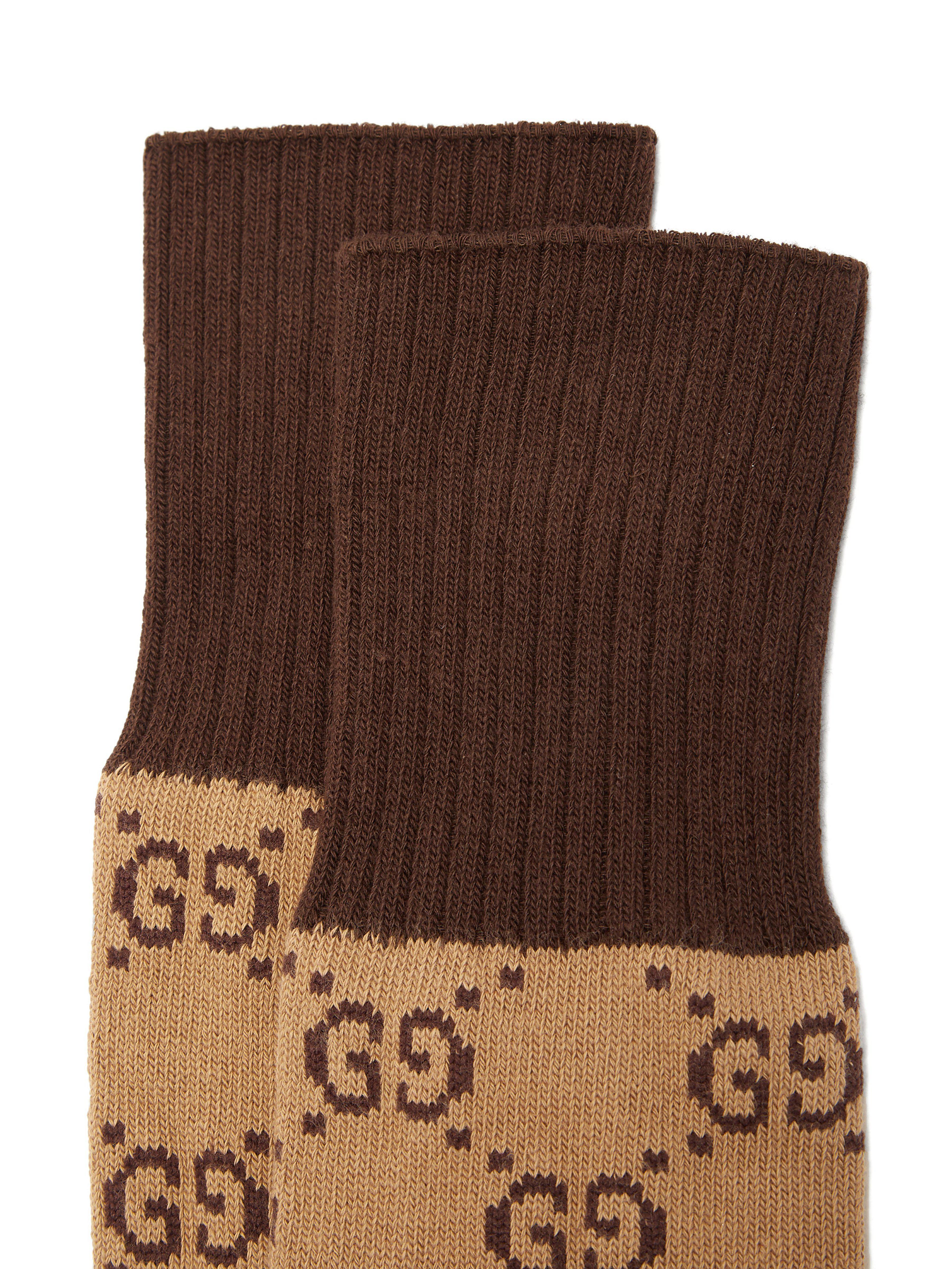 179230fd314 Lyst - Chaussettes en coton mélangé en intarsia GG Gucci pour homme en  coloris Marron - 71 % de réduction
