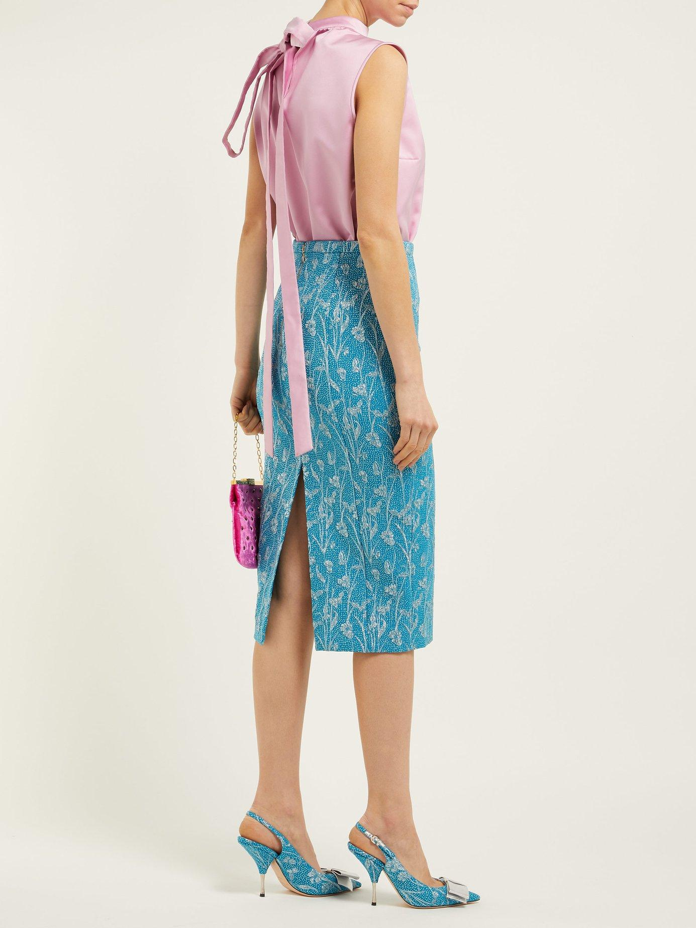 4acfa5cb27 Lyst - Rochas Floral Brocade Pencil Skirt in Blue