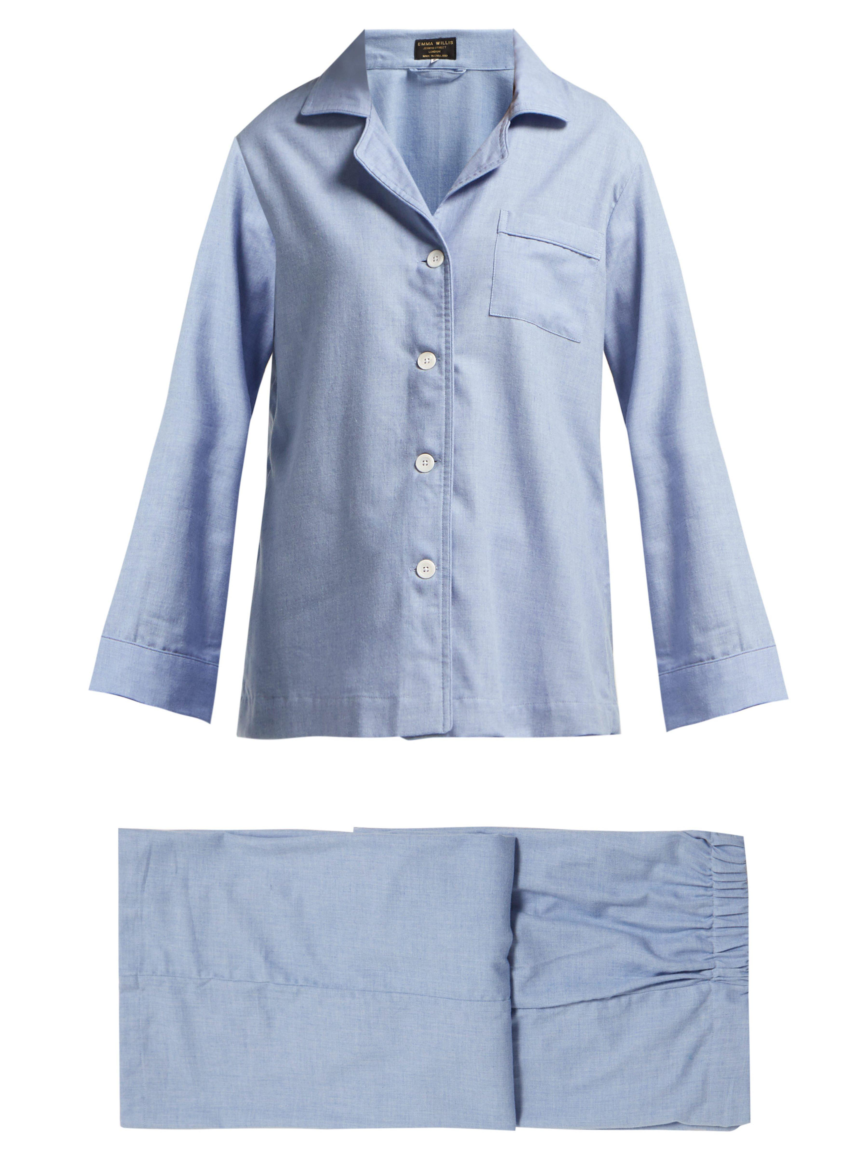 4ad3c313d8a Emma Willis Fluted Sleeve Cotton Blend Pyjamas in Blue - Lyst