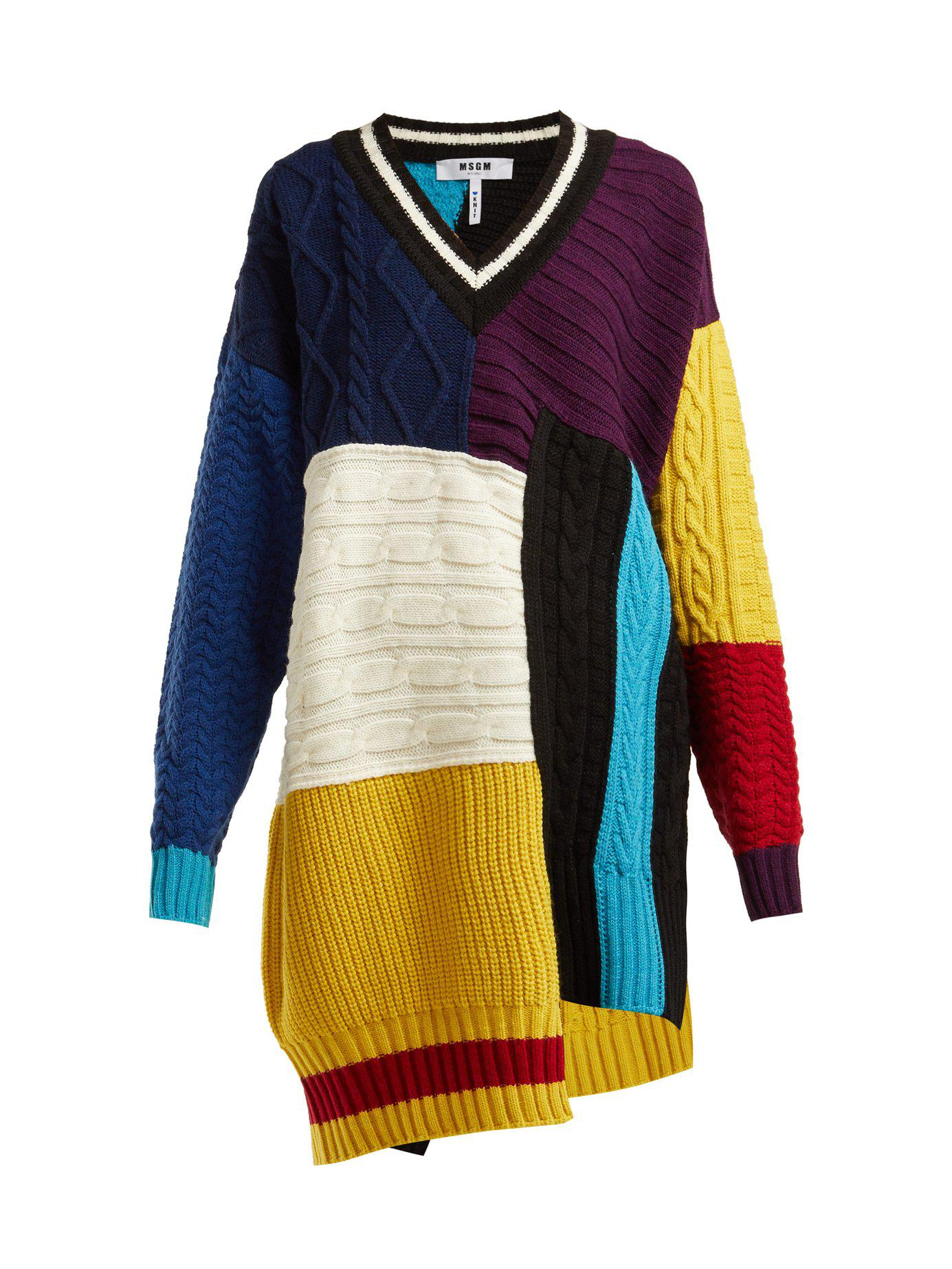 Women's Sweater Cable Knit Blue Patchwork Msgm ZwTXqdpxZ