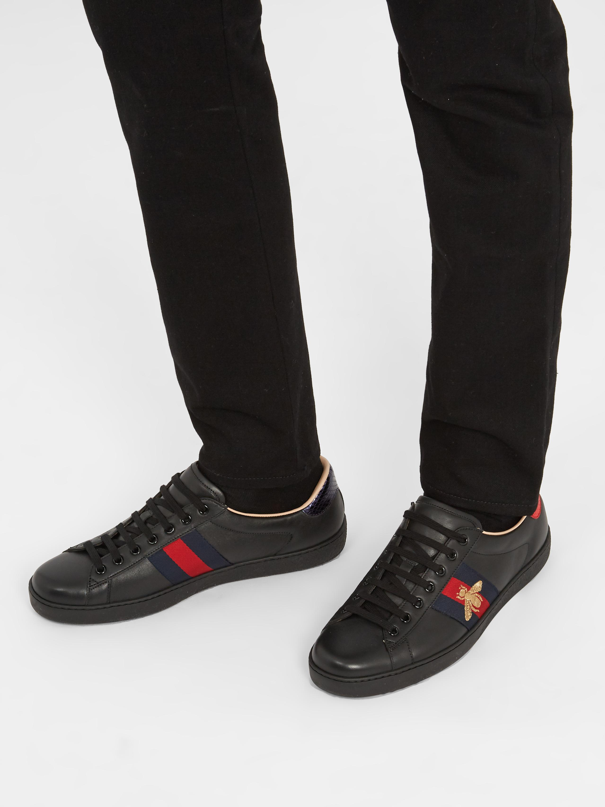 Gucci Leather Ace Bee Sneakers in Black