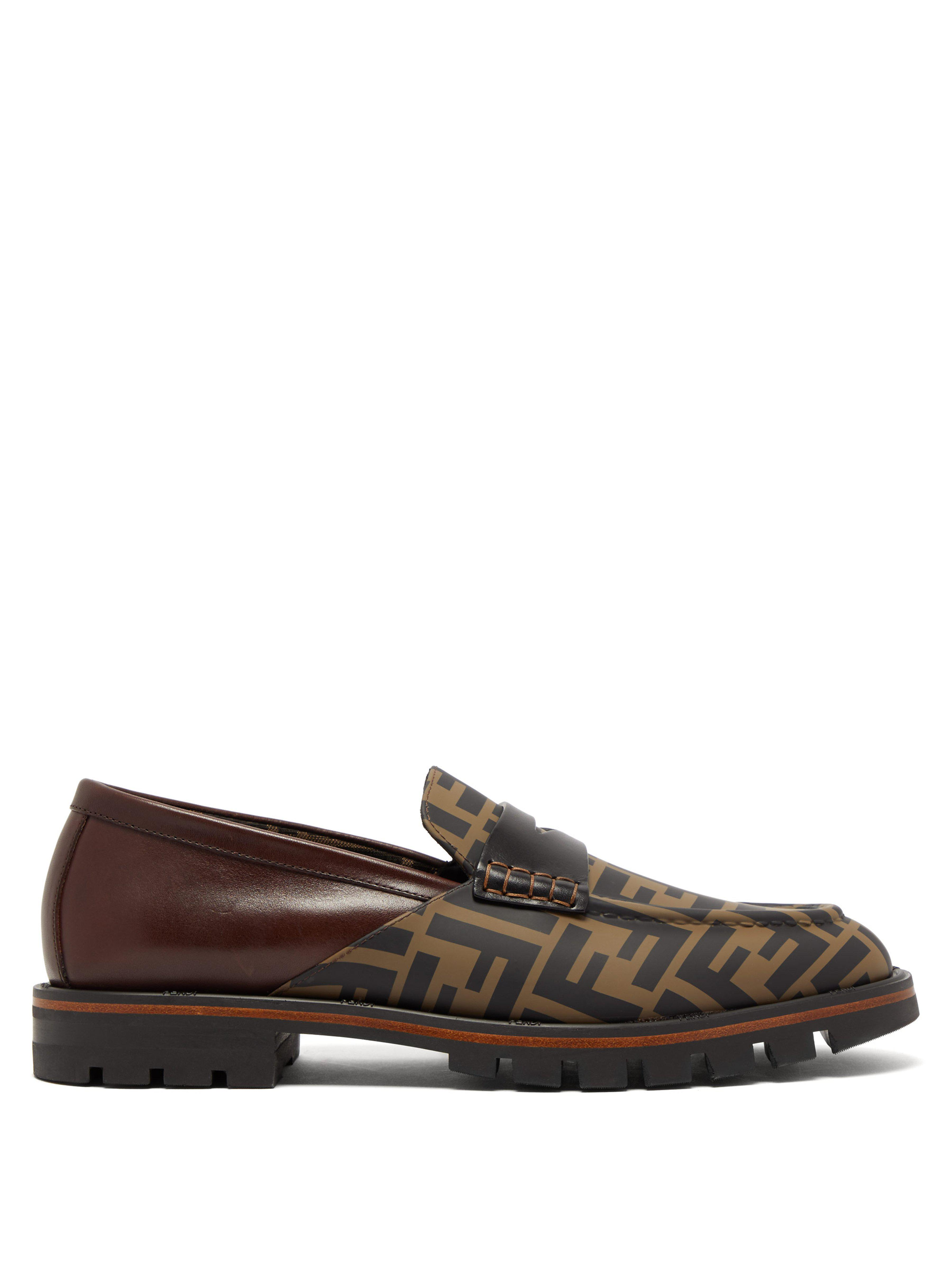 b0468eef45a Fendi Logo Print Leather Penny Loafers in Brown for Men - Save 50 ...