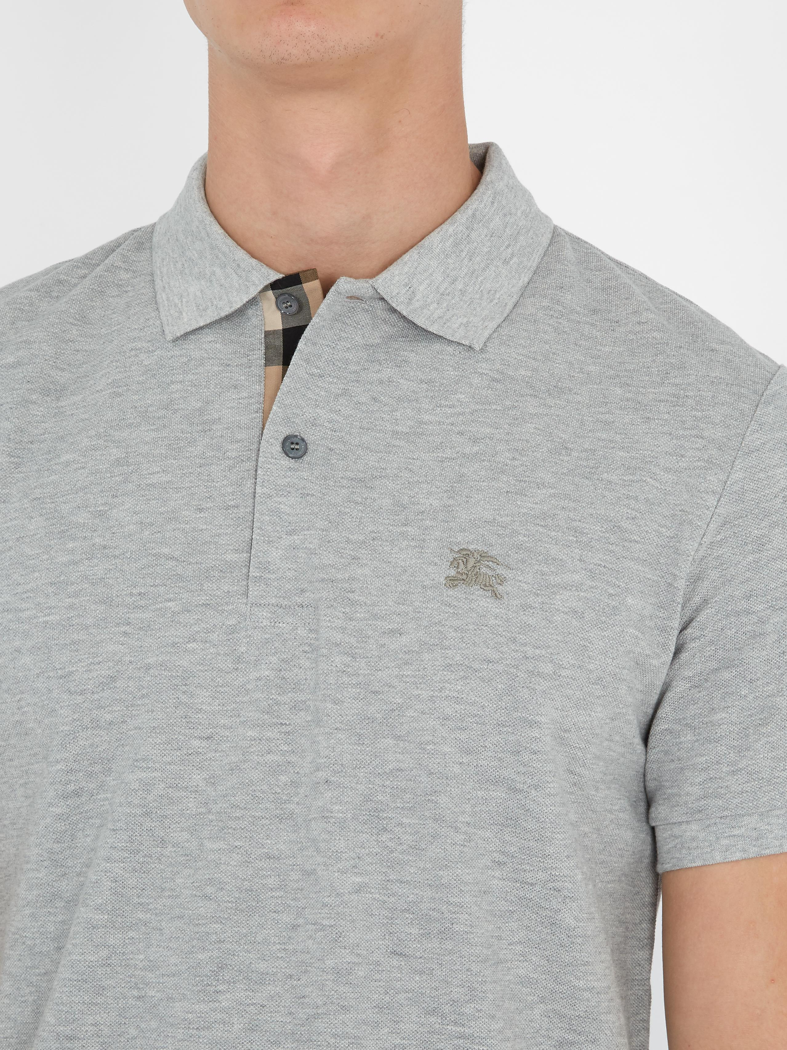 127ee9eb212b Lyst - Burberry Oxford Cotton-piqué Polo Shirt in Gray for Men
