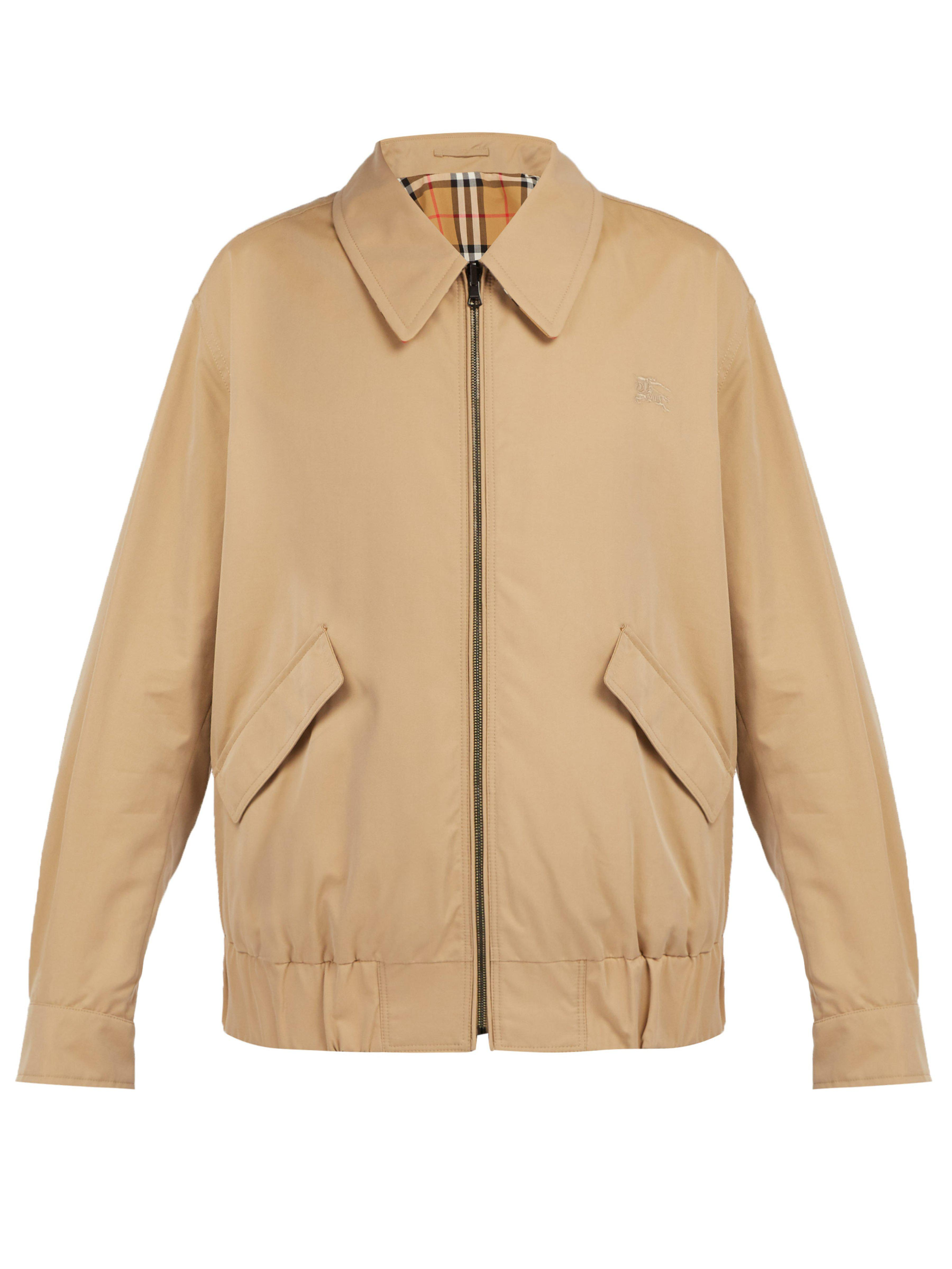 98c0f8a581 Burberry Harrington Cotton Gabardine Jacket in Natural for Men - Lyst