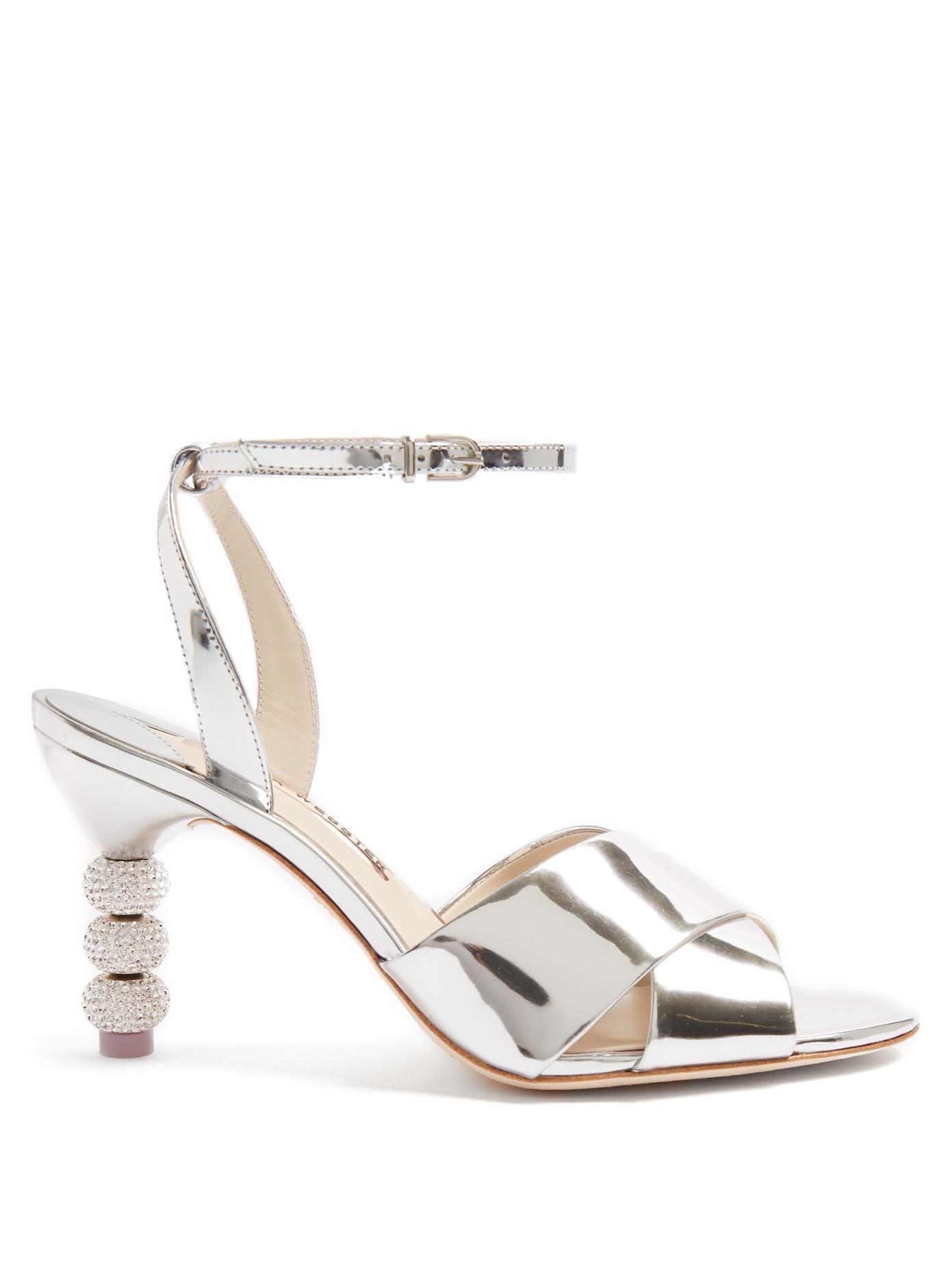 Silver Natalia crystal 85 leather sandals - Metallic Sophia Webster 5e6p4G