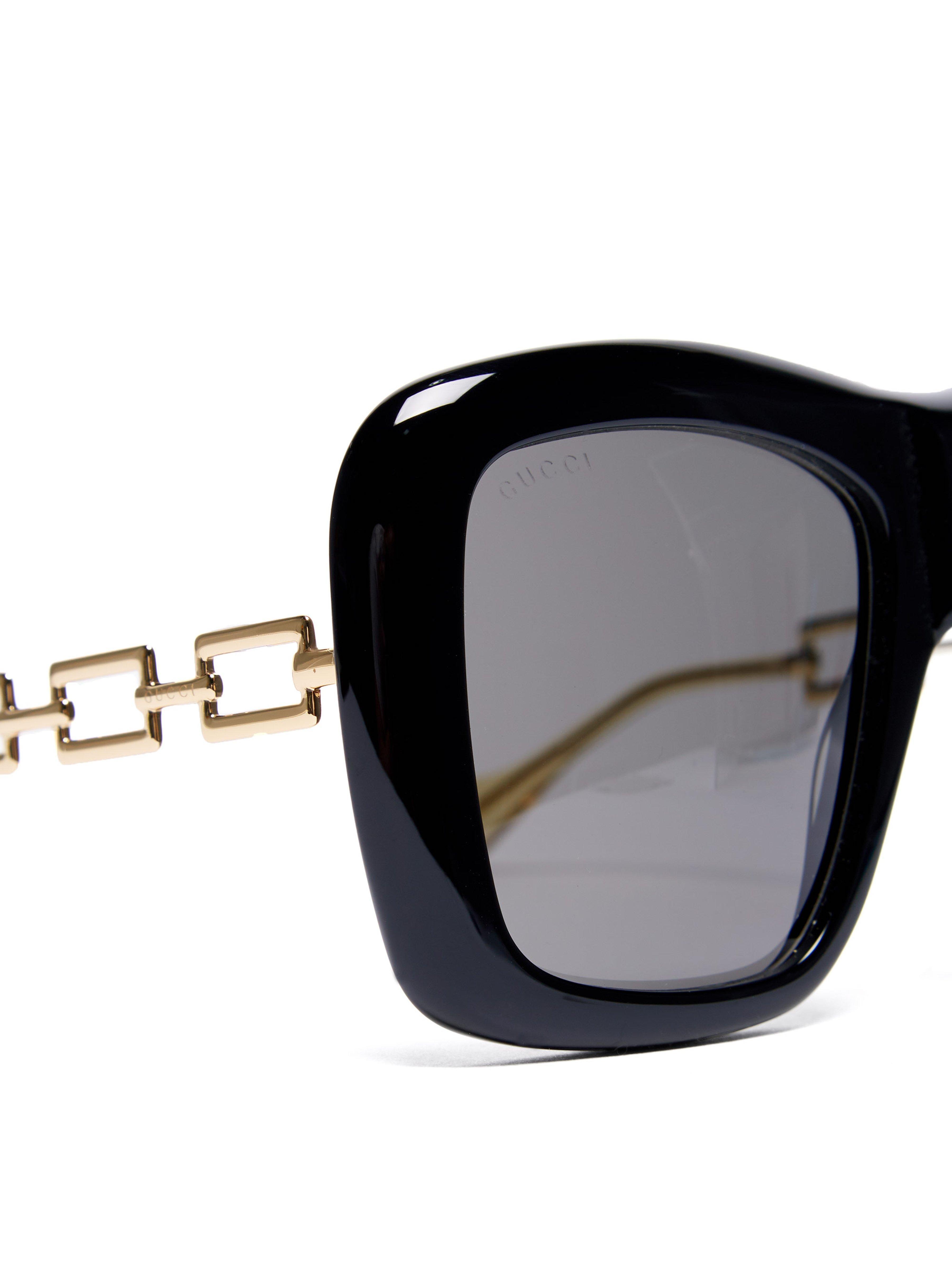 5342ba5c8e Gucci - Black Oversized Square Frame Acetate Sunglasses - Lyst. View  fullscreen