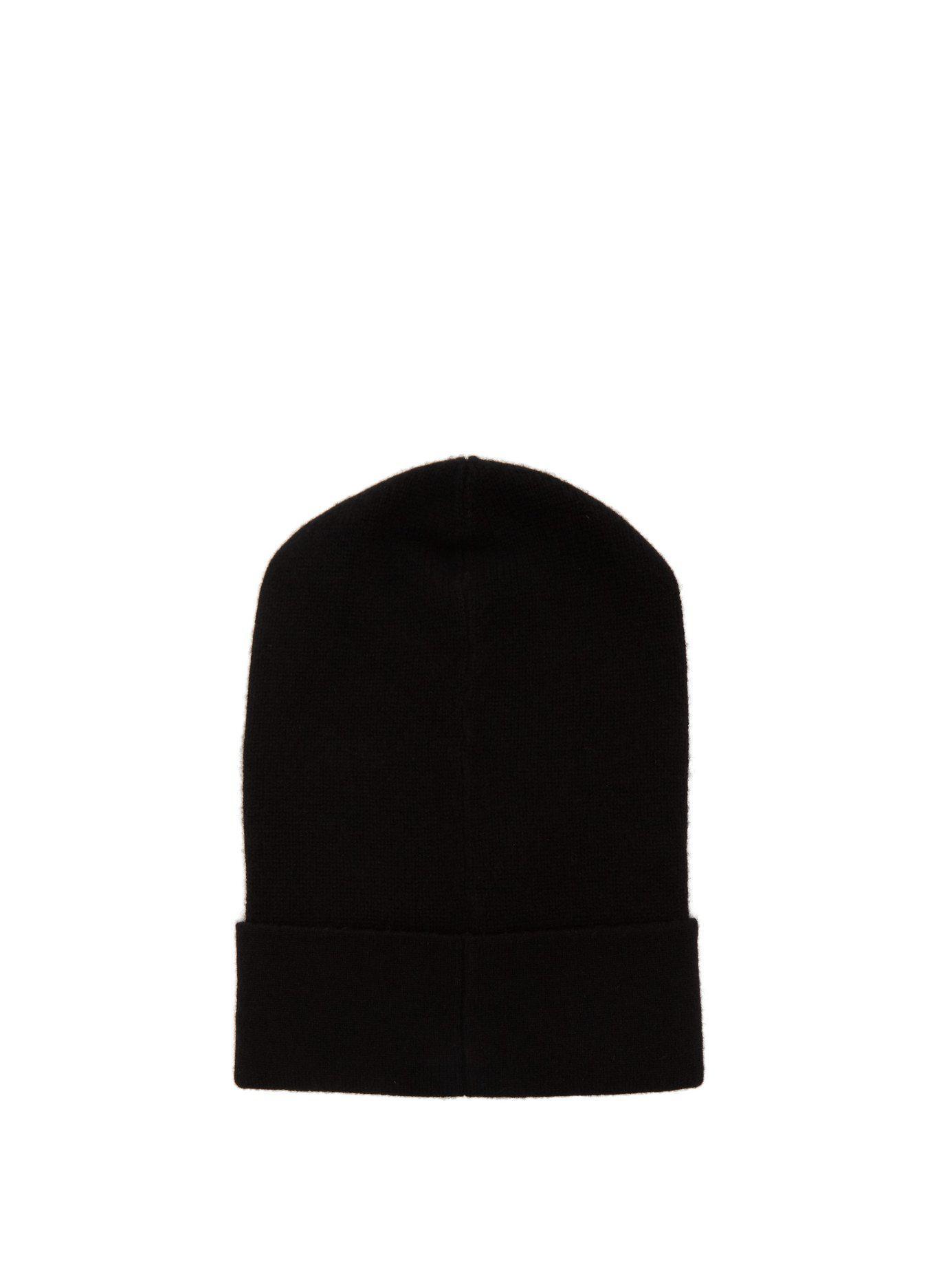 8eb51319c54 Lyst - Moncler Logo Cashmere Beanie Hat in Black