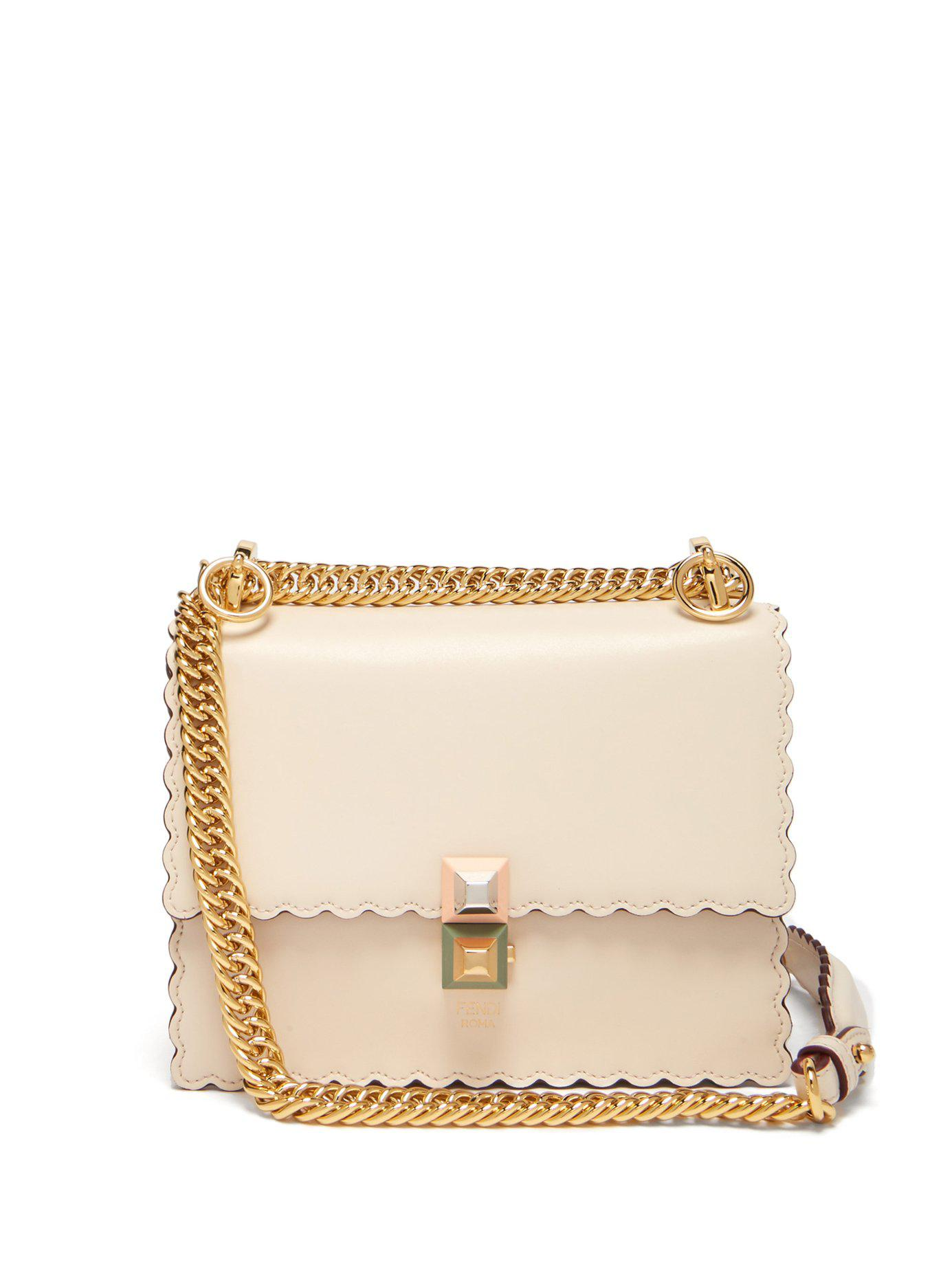 9fcb29518022 Lyst - Fendi Kan I Small Leather Cross Body Bag in Natural