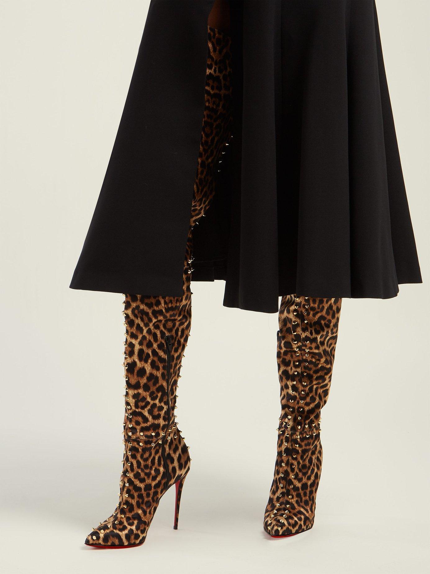 separation shoes 004d5 29791 Women's Brown Metrolisse 100 Leopard Print Over The Knee Boots