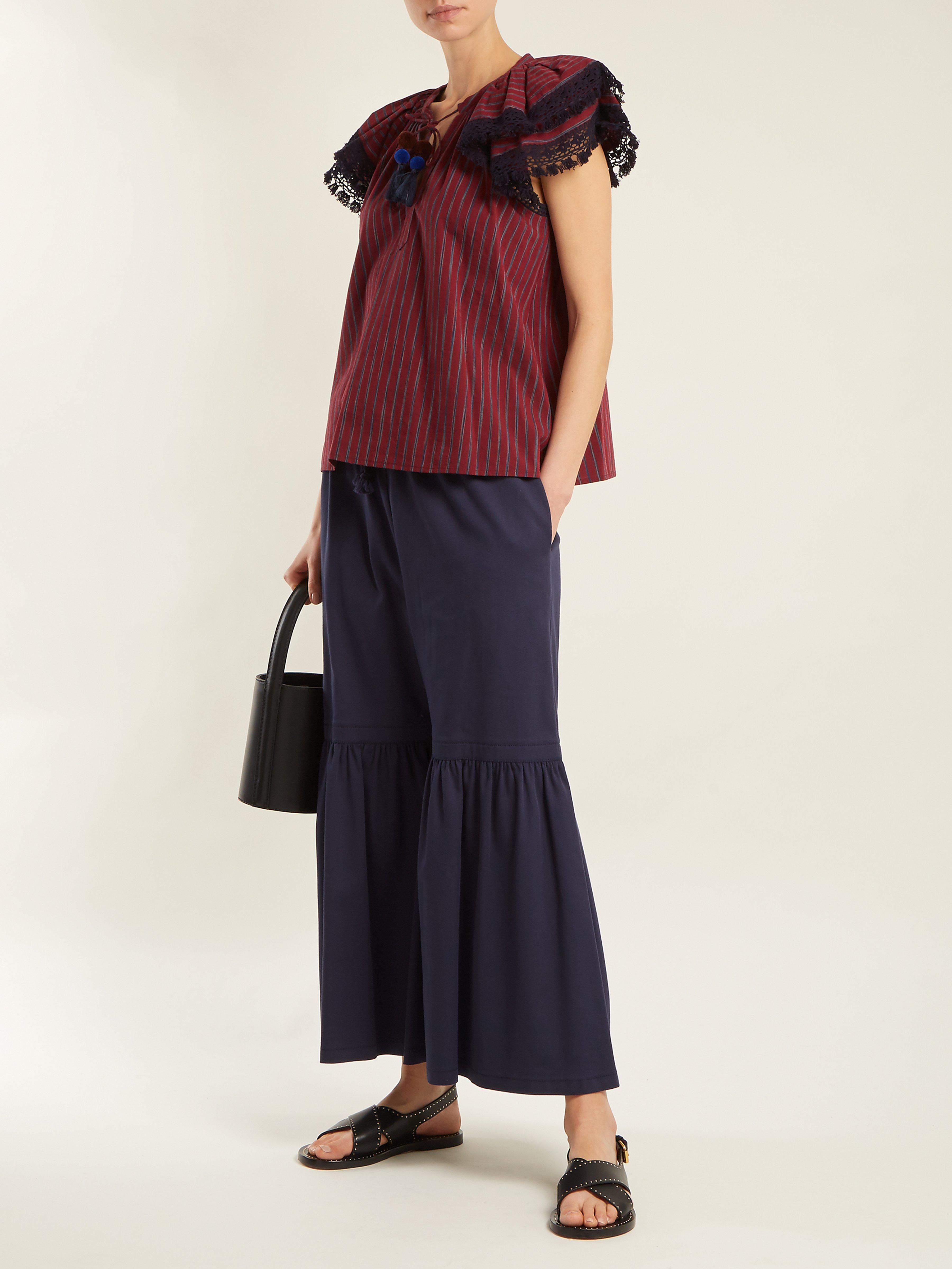 Sea Cotton Ines Ruffle-trimmed Striped Top in Burgundy (Red)
