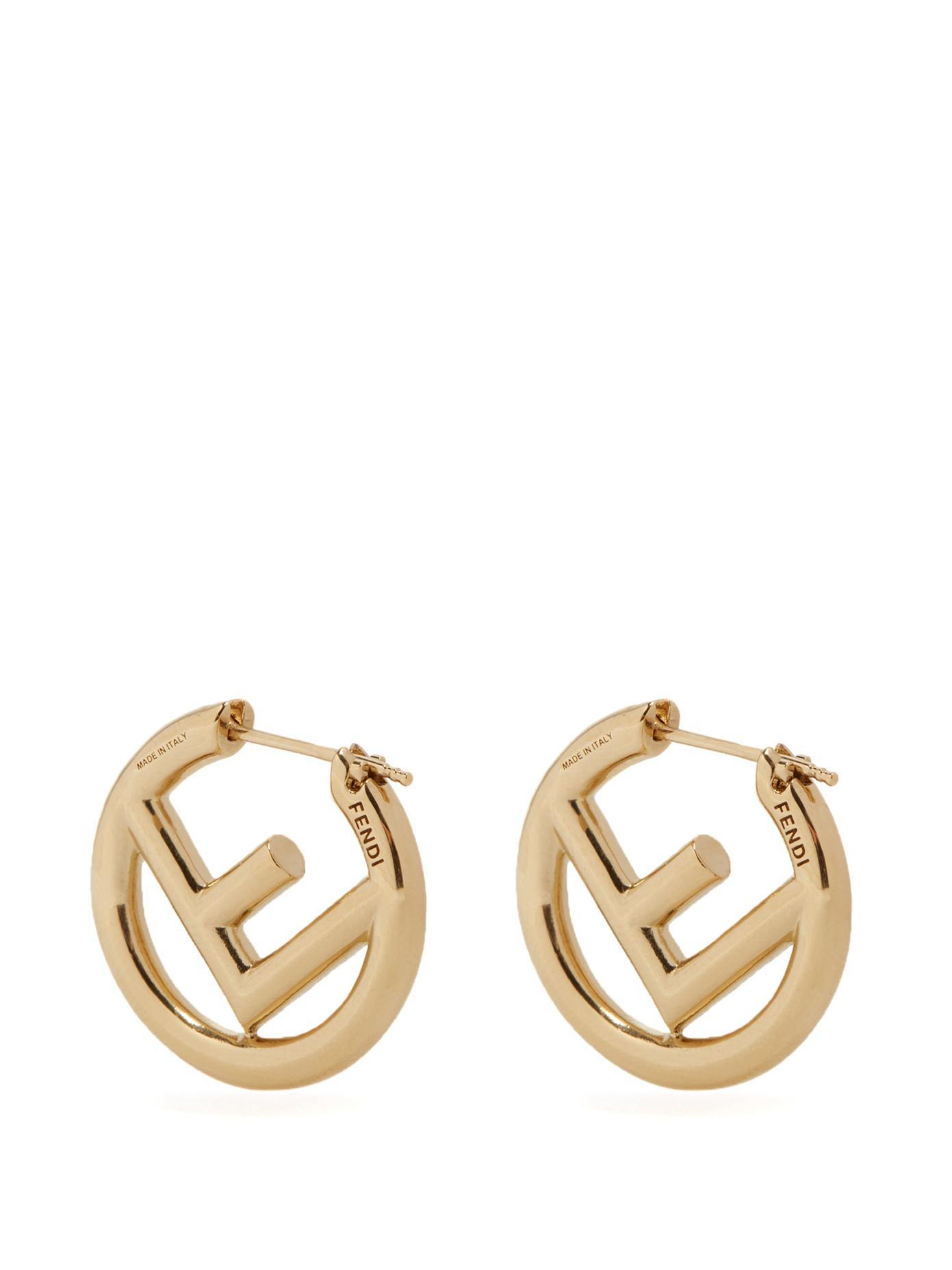 ad5ff89b2 Fendi F Is Small Hoop Earrings in Metallic - Lyst