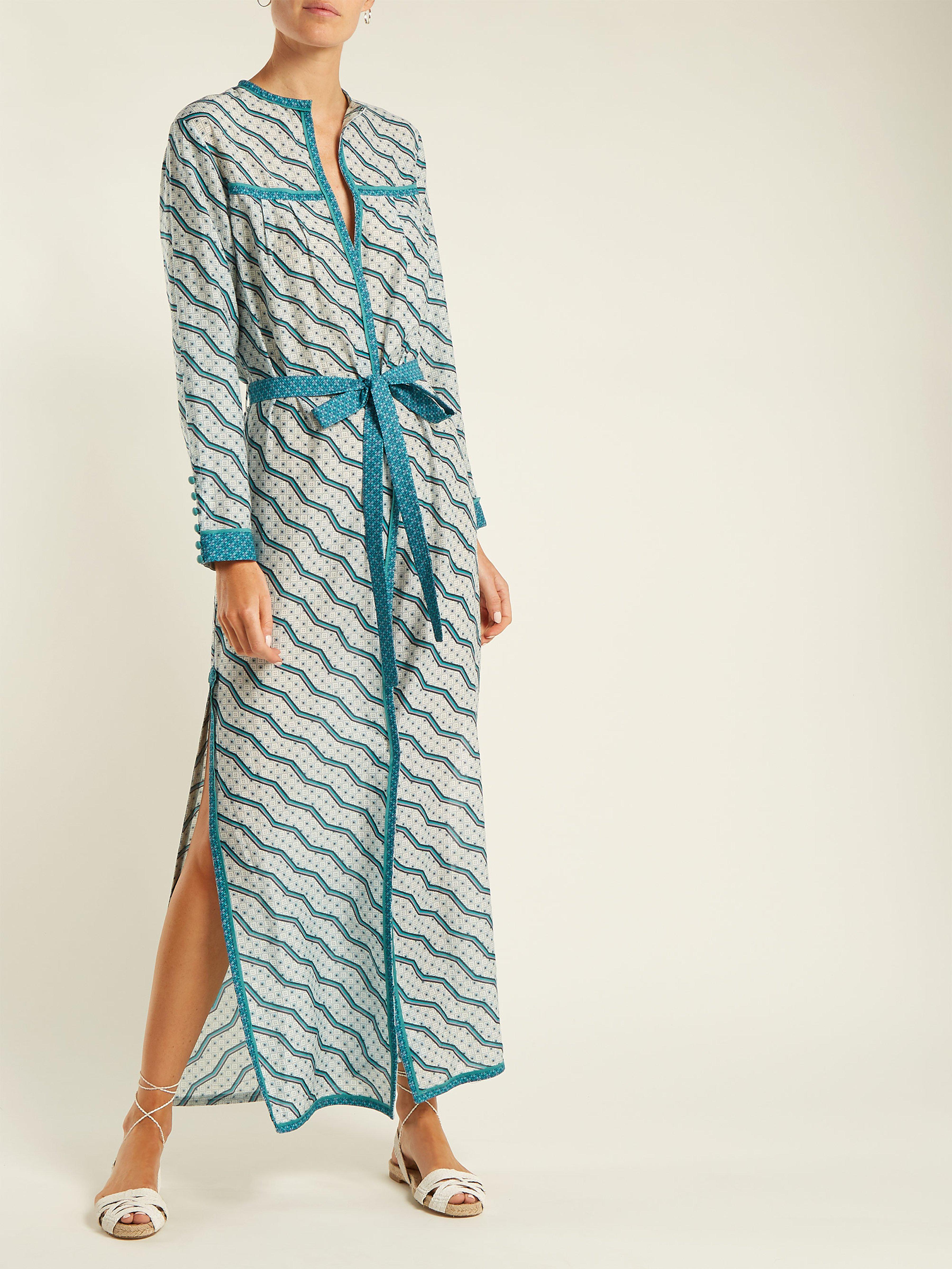 efc6eaf79d Talitha - Green Zigzag Printed Silk Cotton Robe - Lyst. View fullscreen