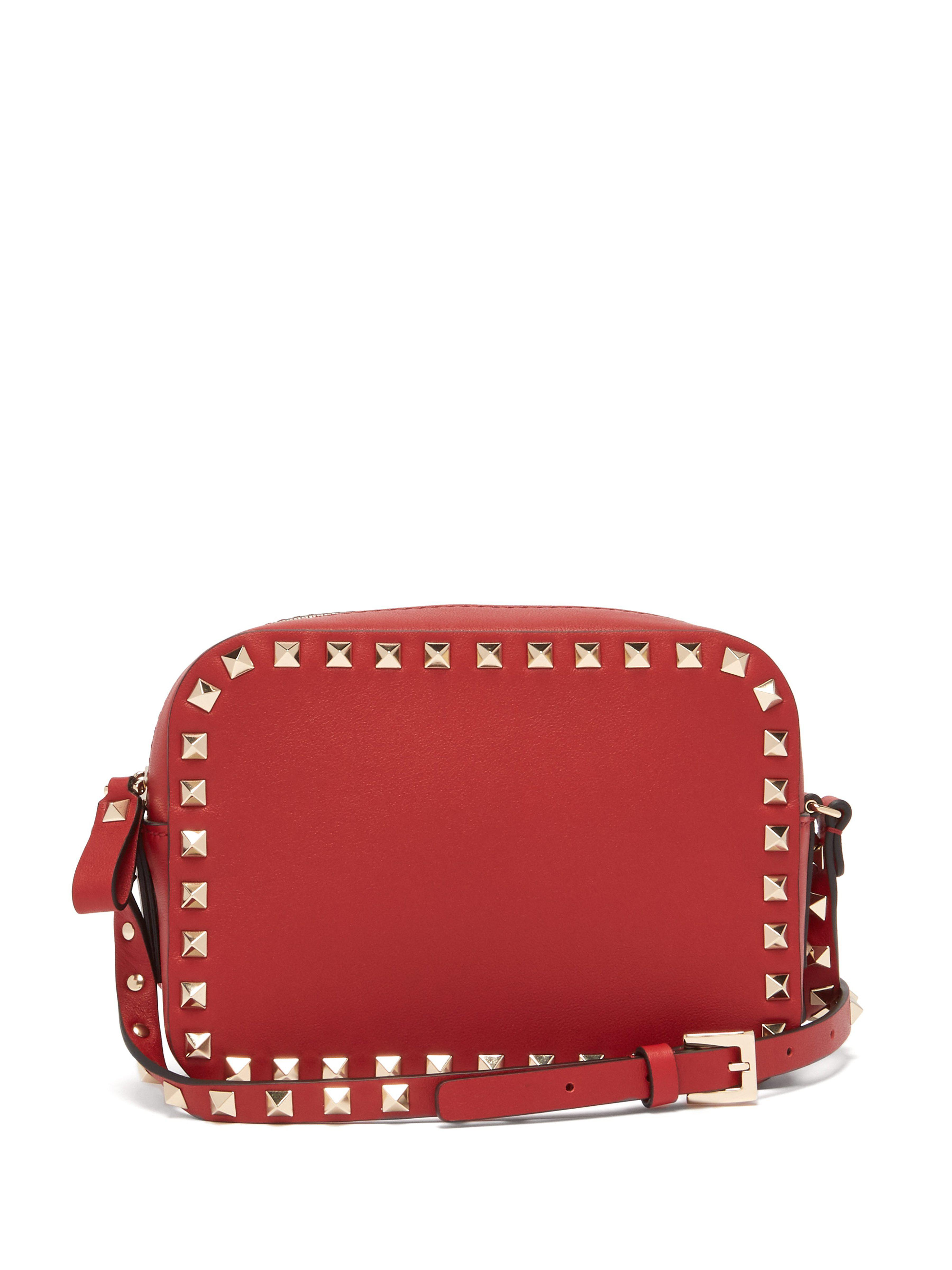 c5d1d6b41ab8 Valentino Rockstud Camera Leather Cross Body Bag in Red - Save 37 ...