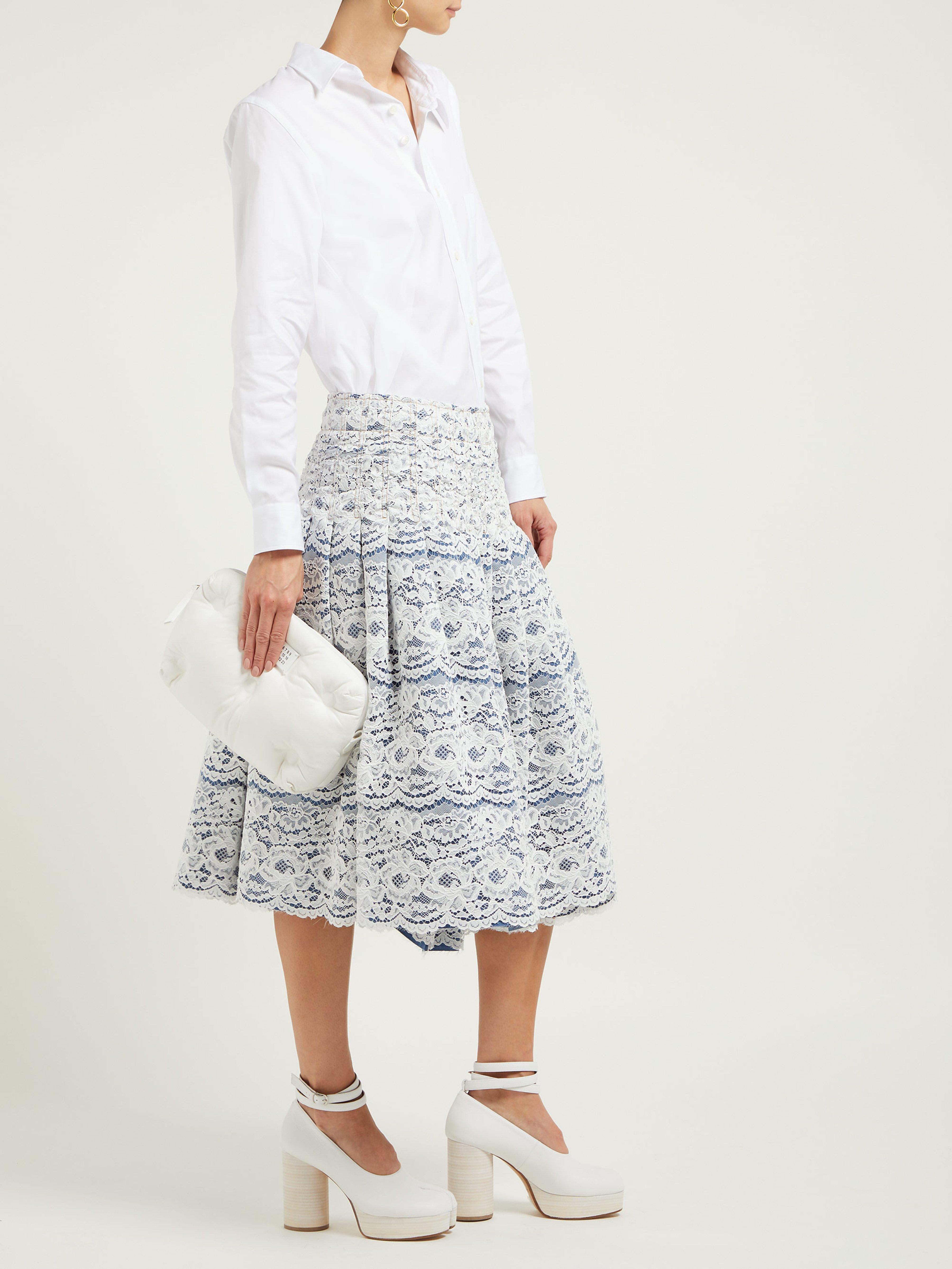8e573c9e7b Junya Watanabe Rachelle Lace Overlay Denim Midi Skirt in Blue - Lyst