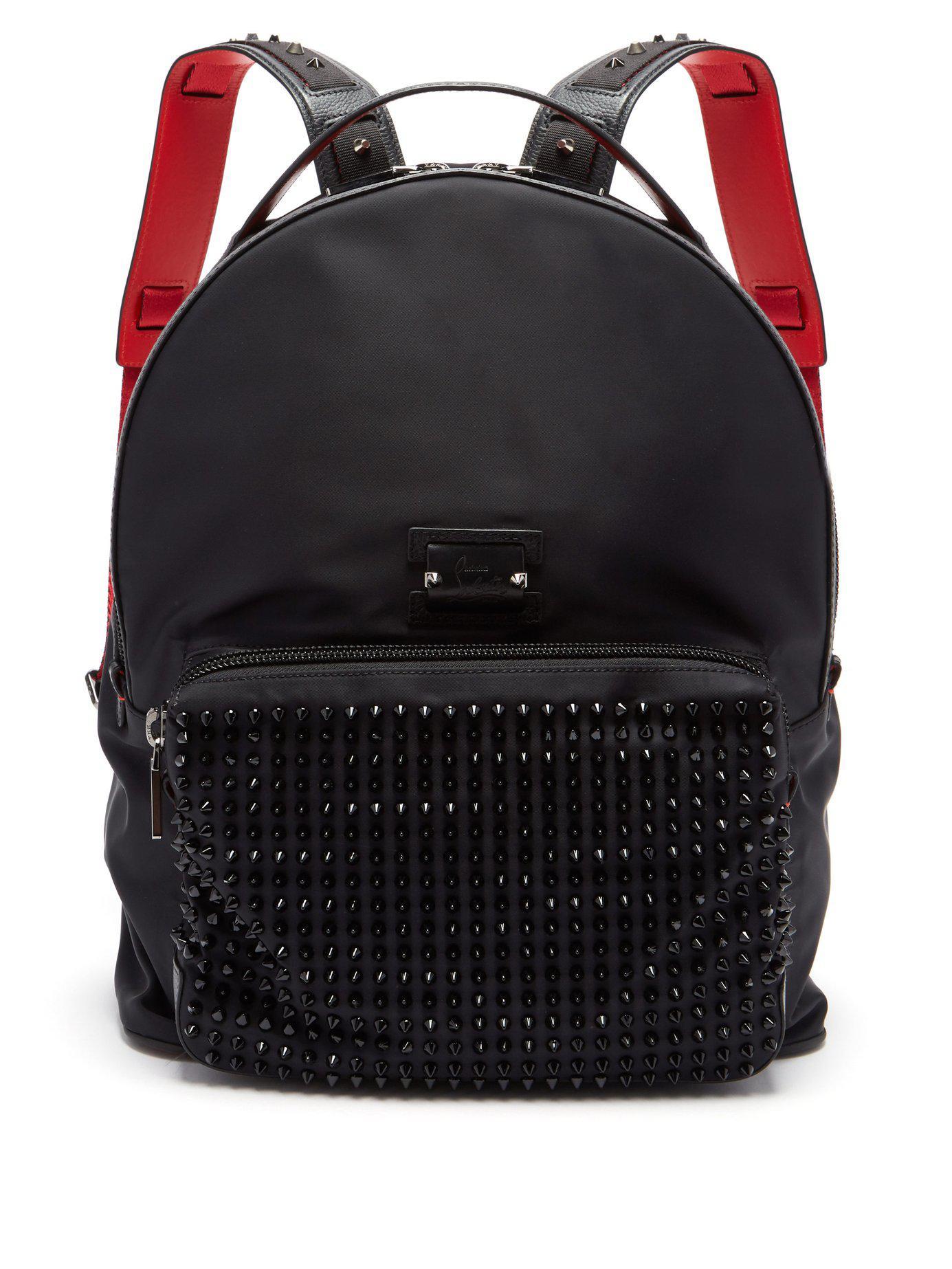 dbf5e5c862 Christian Louboutin - Black Backloubi Spikes Nylon Backpack for Men - Lyst.  View fullscreen