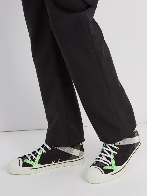 Burberry Bourne High-top Canvas Trainers in Black for Men