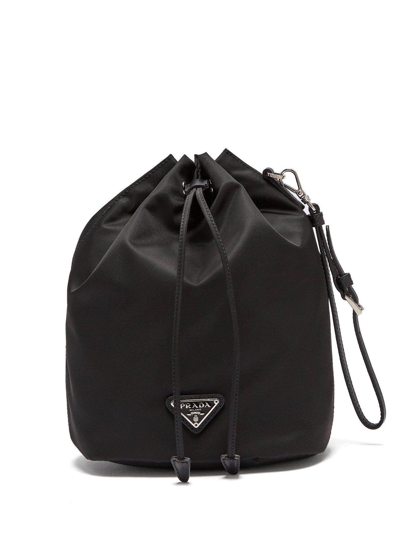Leather Trimmed Drawstring Nylon Wash Bag