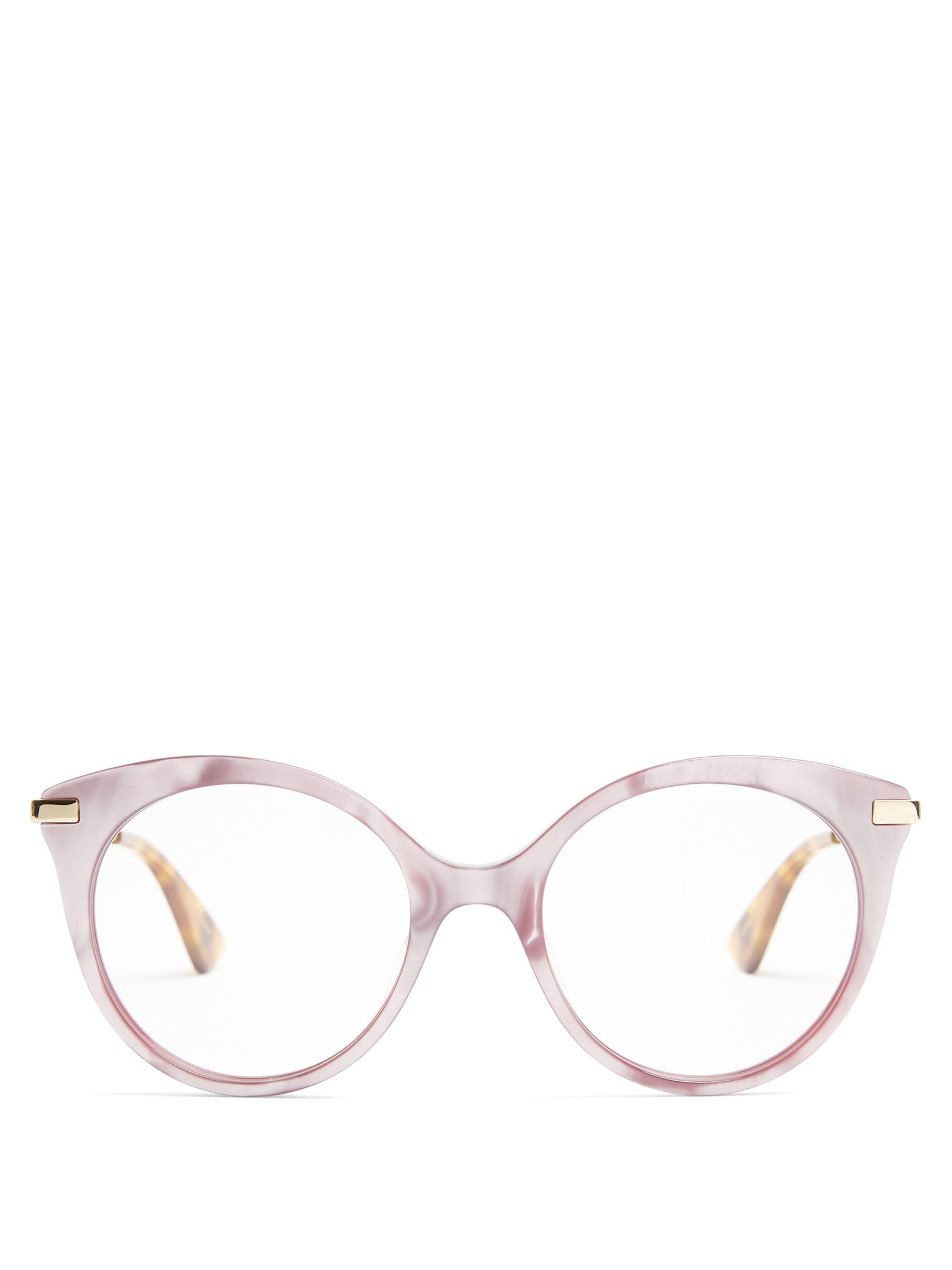 9e3af14b6c Gucci Round-frame Mother-of-pearl Acetate Glasses in Pink - Lyst