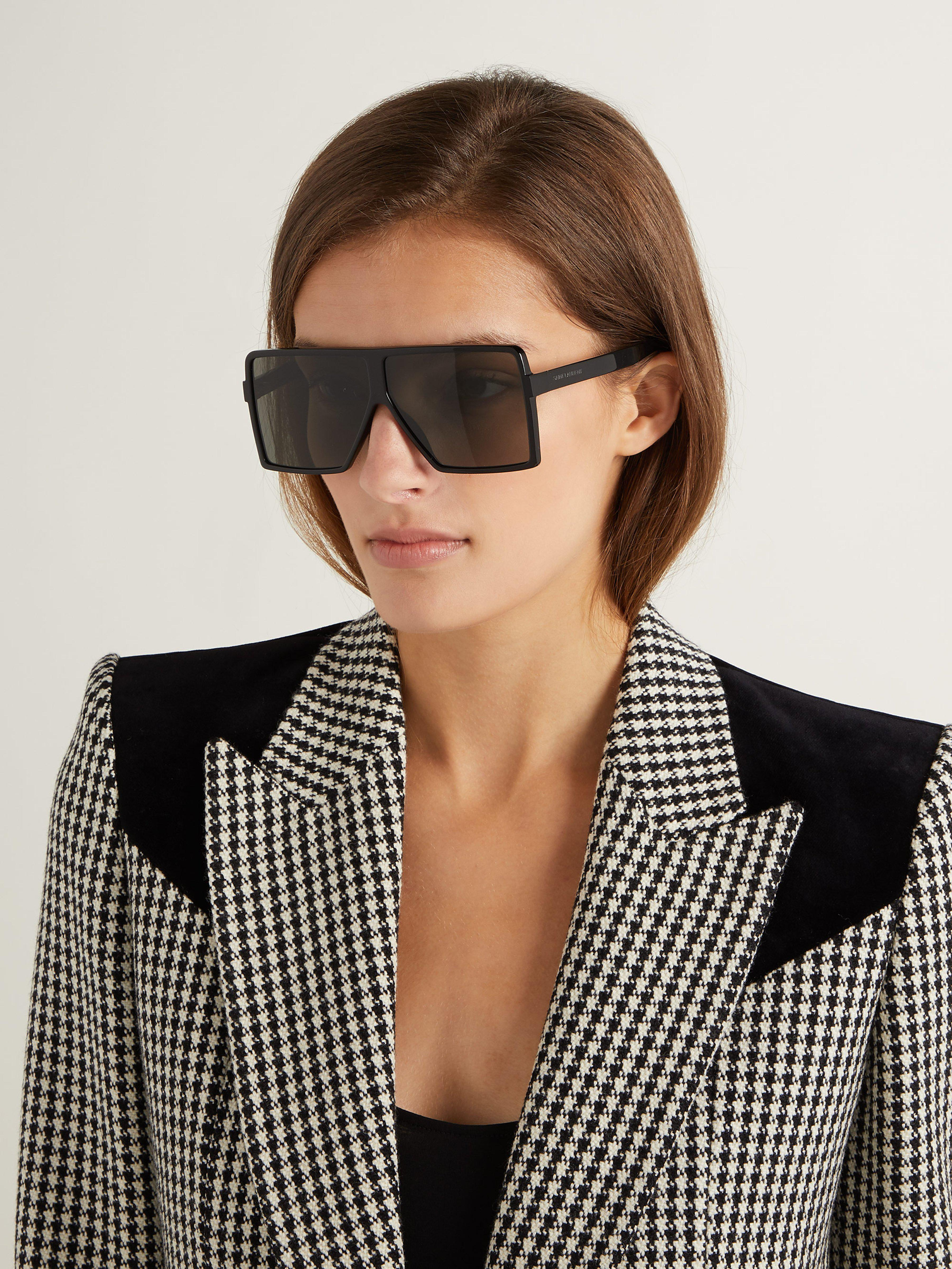 95bc25a1b2d Saint Laurent Betty Flat Top Acetate Sunglasses in Black - Lyst
