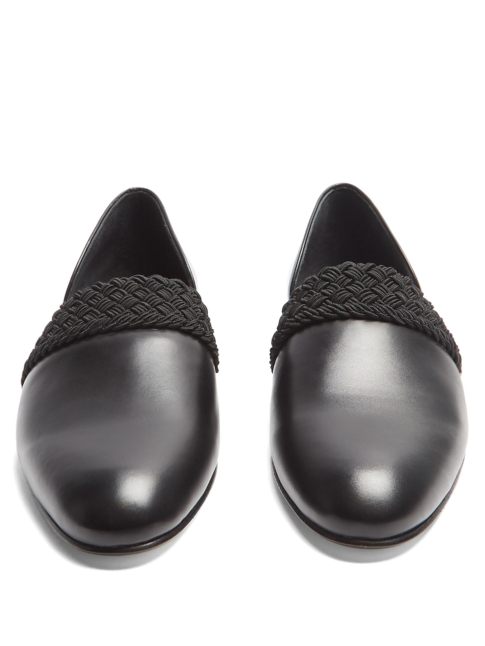 Loewe Leather Cut-out Side Braided-detail Loafers in Black for Men