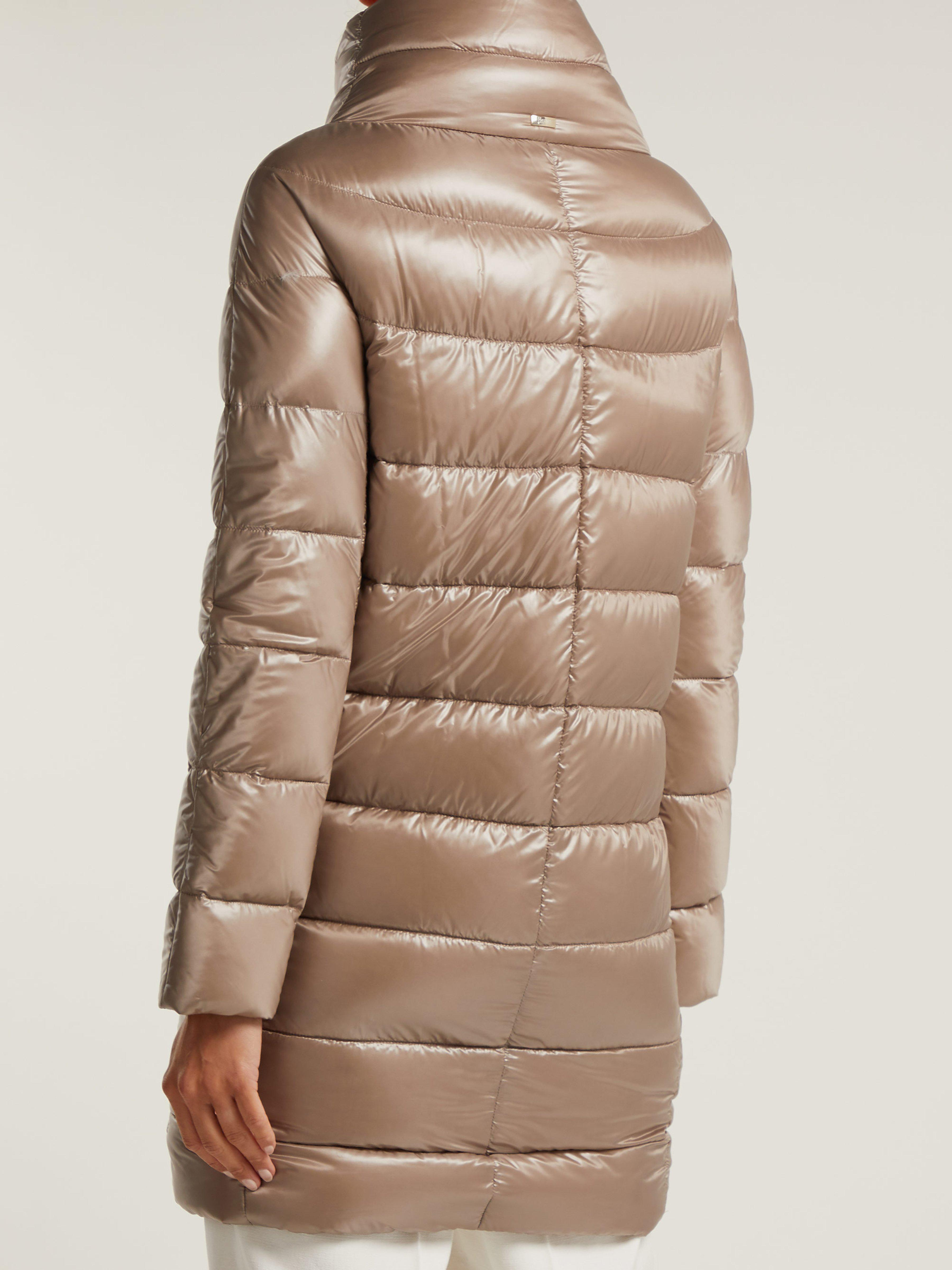 58adc1726624 Herno Dora Mid-length Light-weight Down Jacket in Natural - Lyst