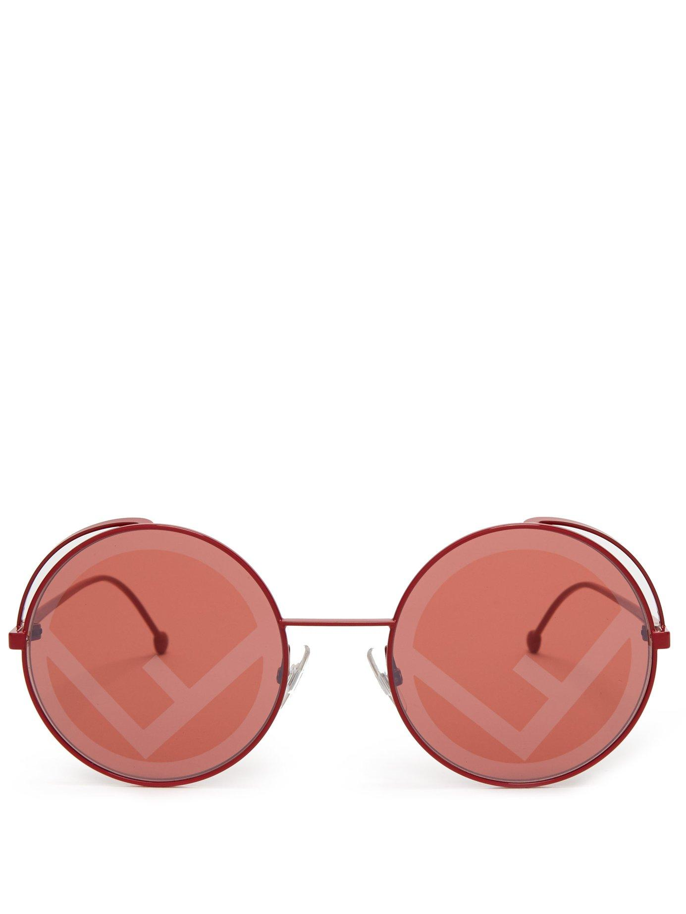 b15224edf110 Fendi Rama Rounded Frame Metal Sunglasses in Red - Lyst
