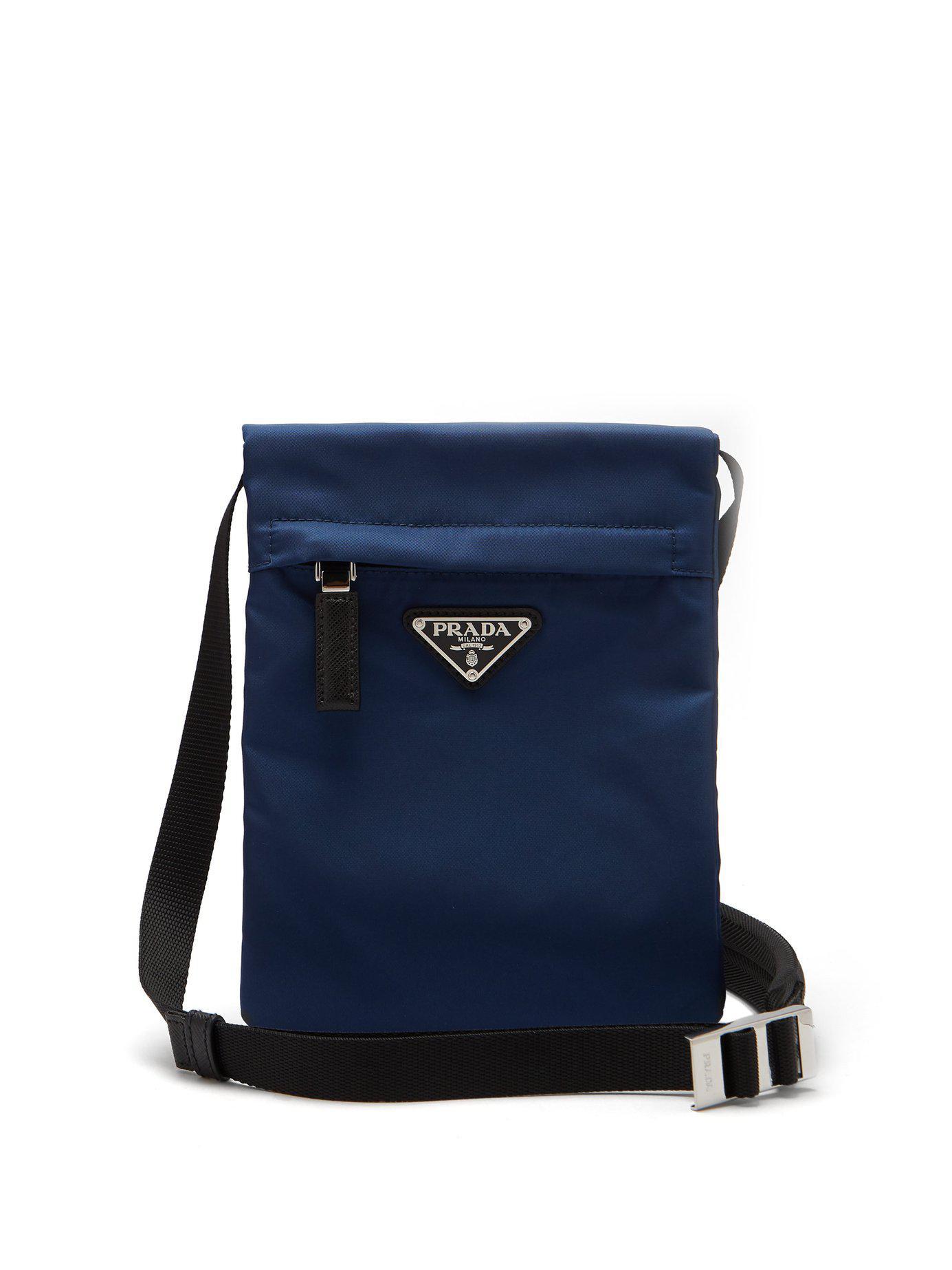 Prada - Blue Nylon Cross Body Bag for Men - Lyst. View fullscreen 88fff4aeea17e
