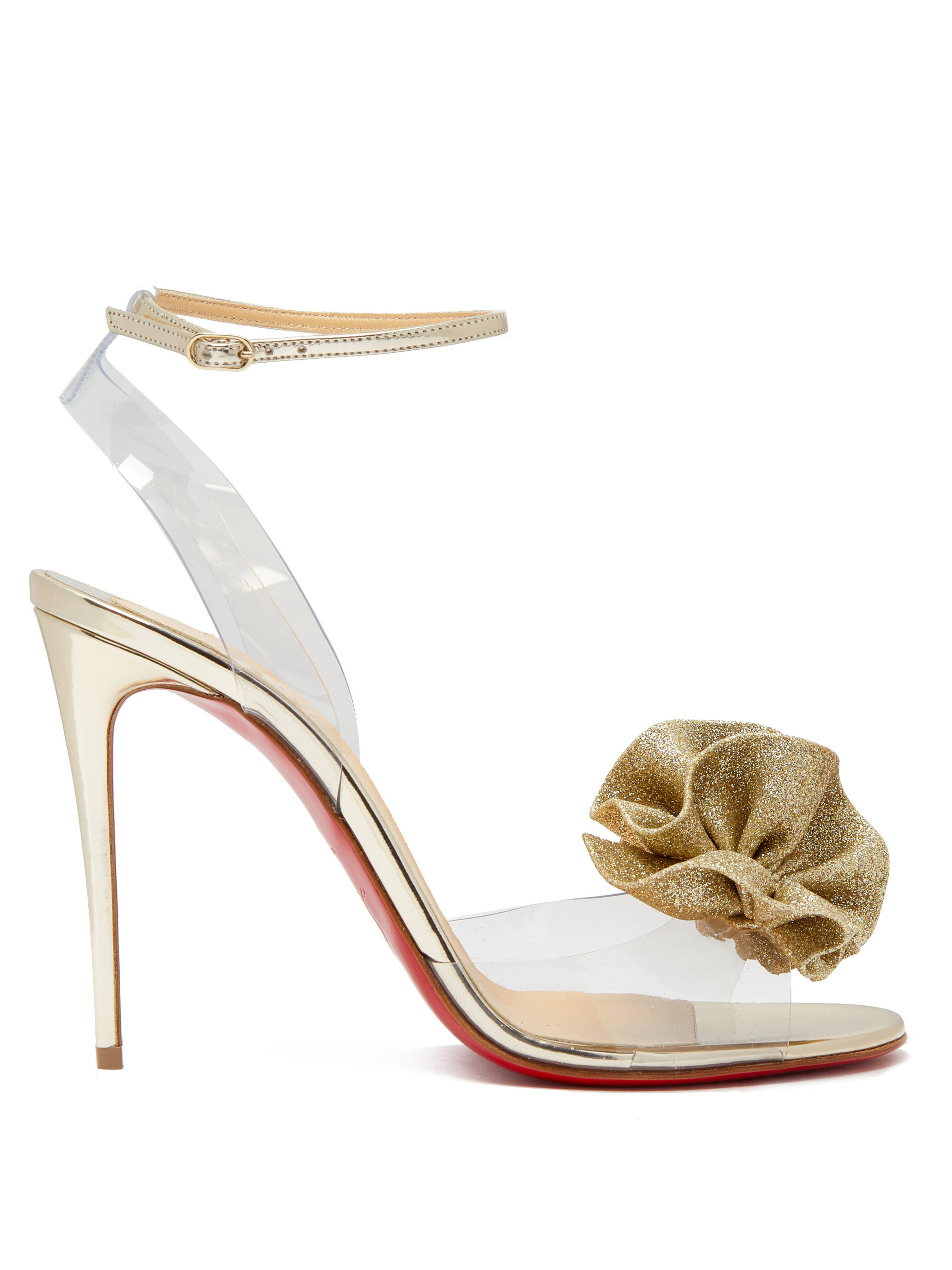 5d6b520f843 Christian Louboutin. Women s Metallic Fossiliza 100 Flower Embellished  Sandals