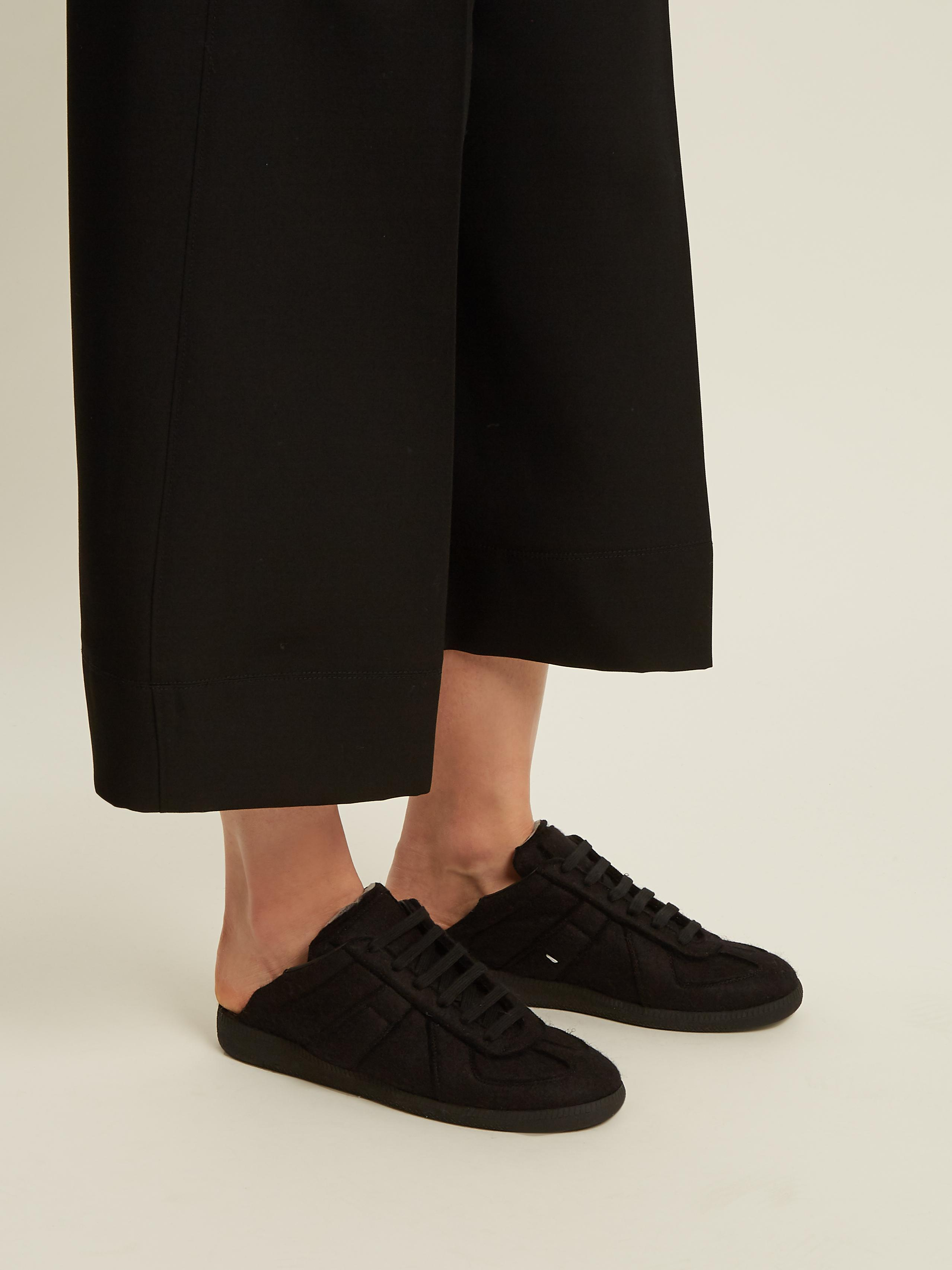 Maison Margiela Leather Replica Backless Trainers in Black