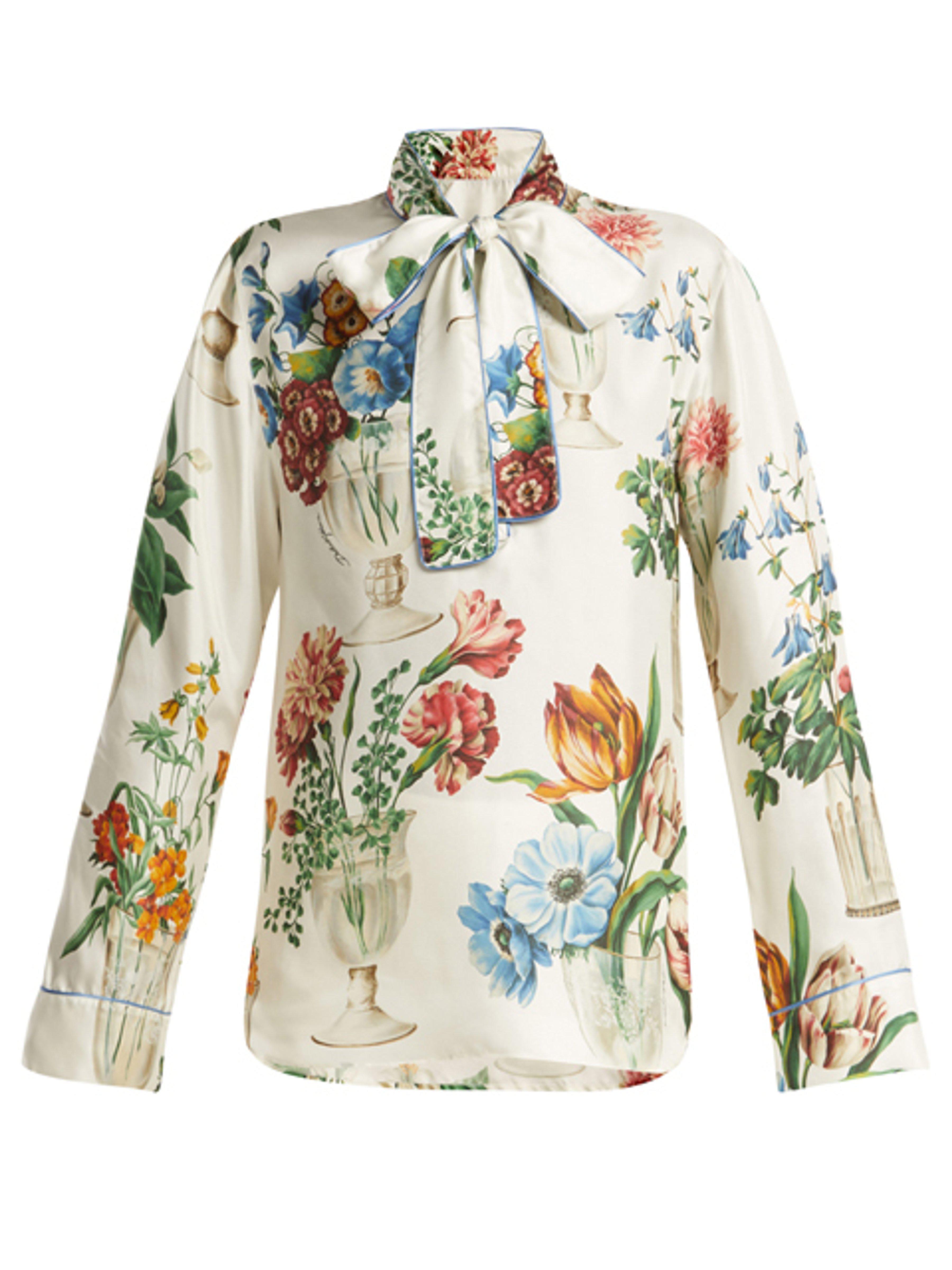 e5da8a816e63ee Dolce   Gabbana Floral And Vase Print Silk Blouse - Lyst