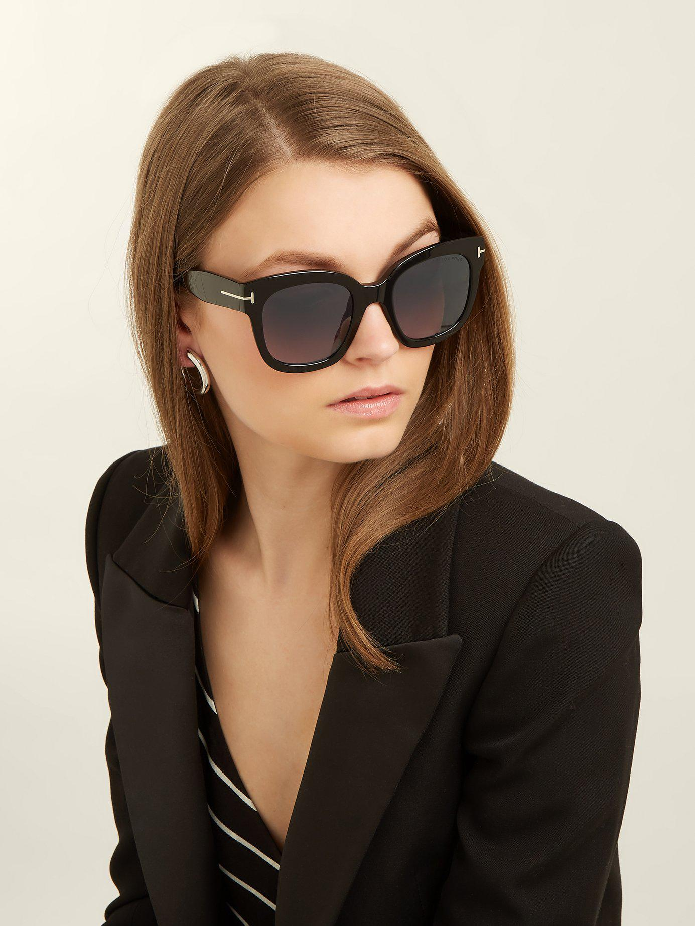 c05f0a452a Lyst - Tom Ford Beatrix Square Frame Sunglasses in Black