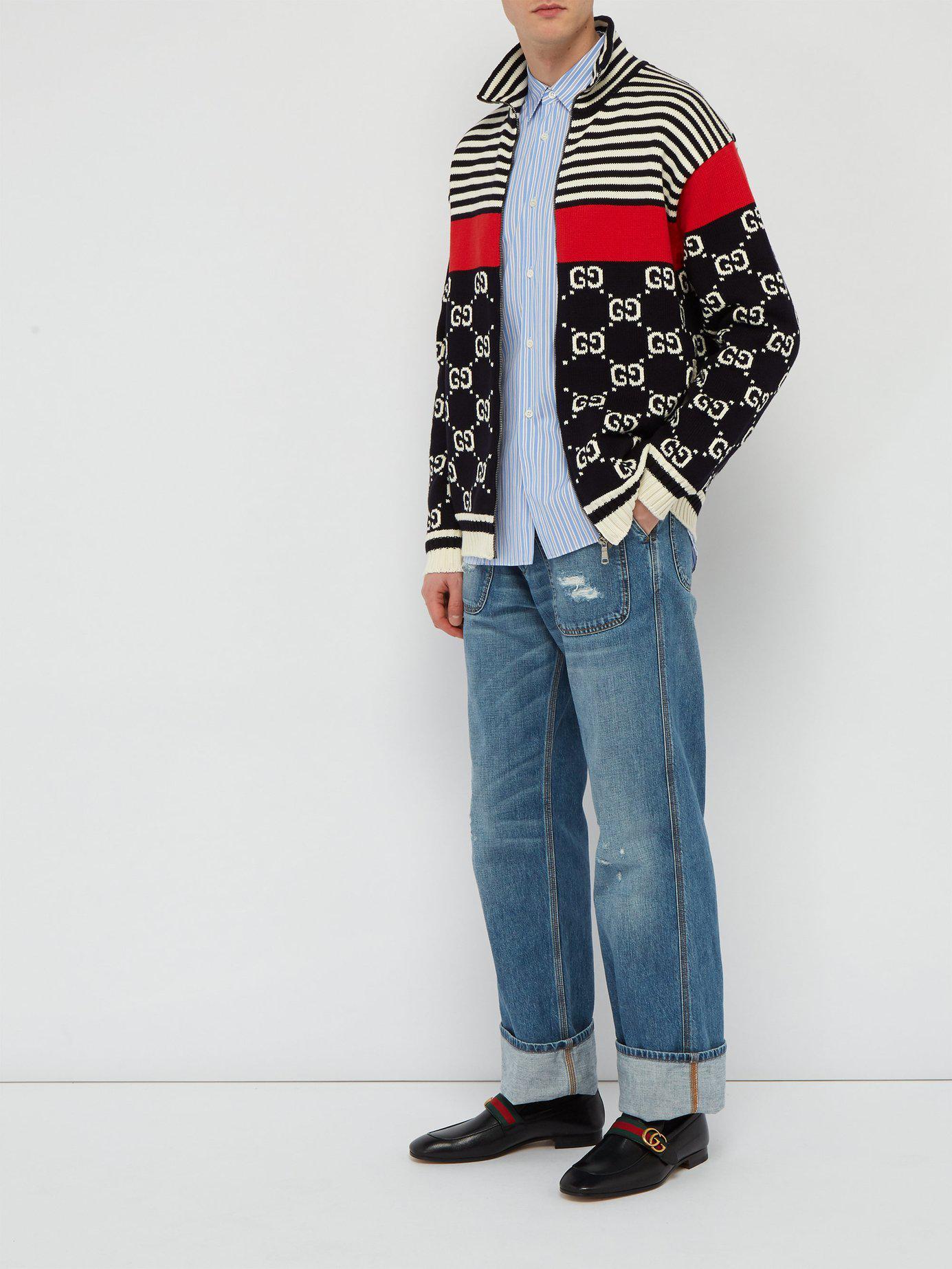 Gucci Donnie Gg Web Stripe Leather