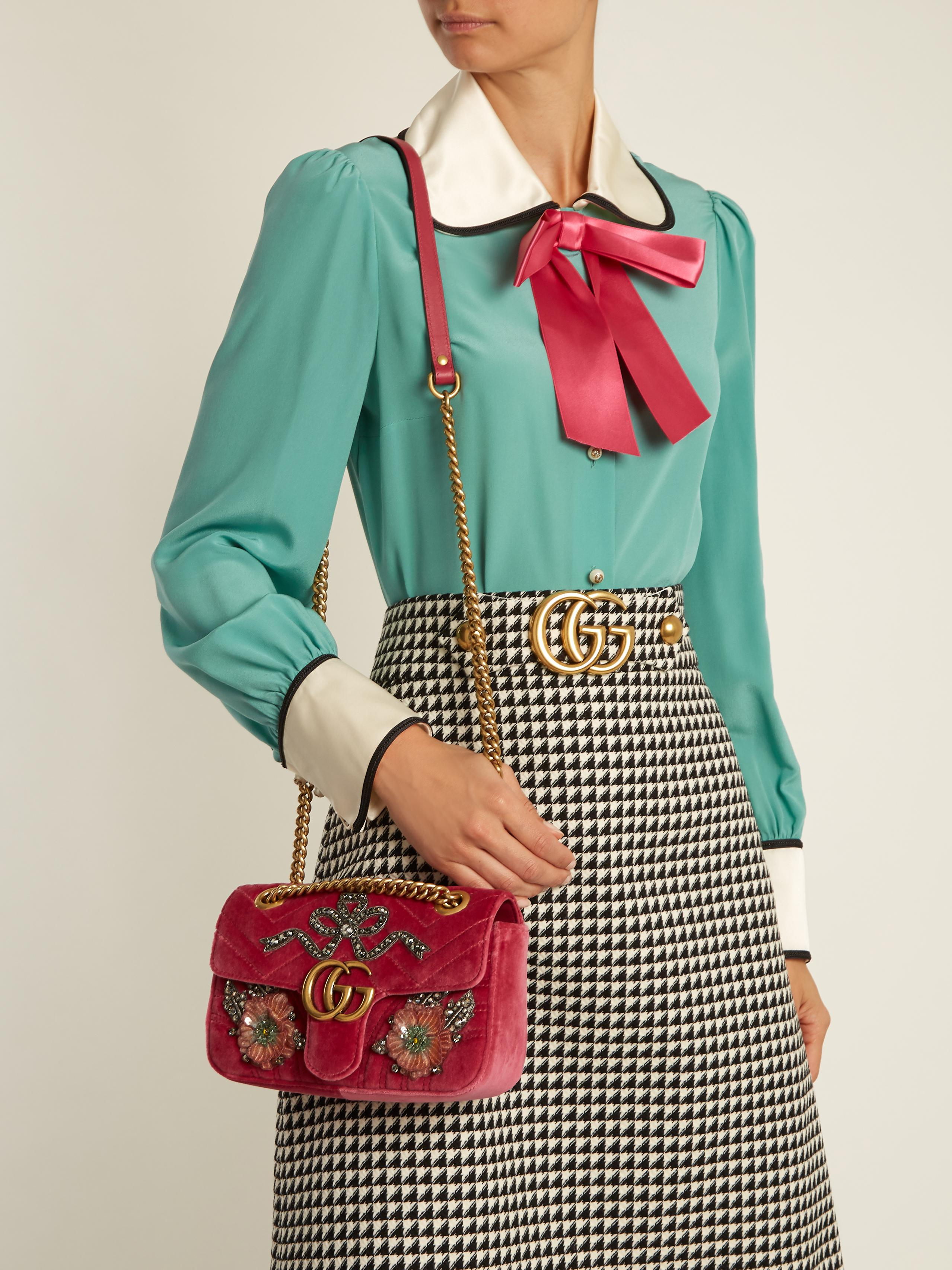 5497ed753 Gucci GG Marmont Mini Embellished Quilted-velvet Cross-body Bag in ...