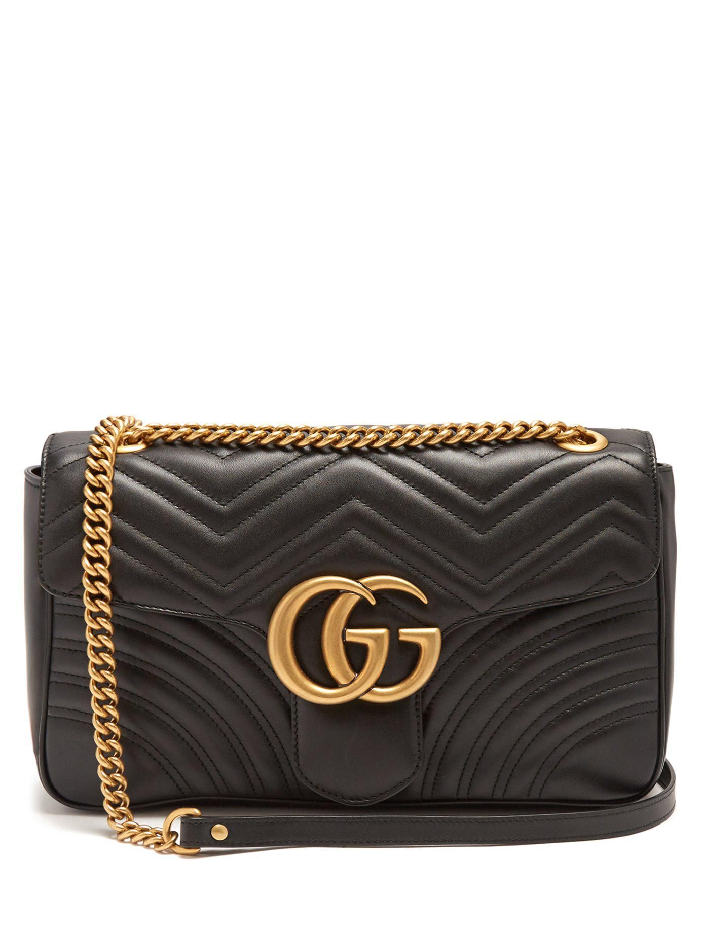 fcbeb125db0 Gucci Gg Marmont Quilted-leather Shoulder Bag in Black - Save ...