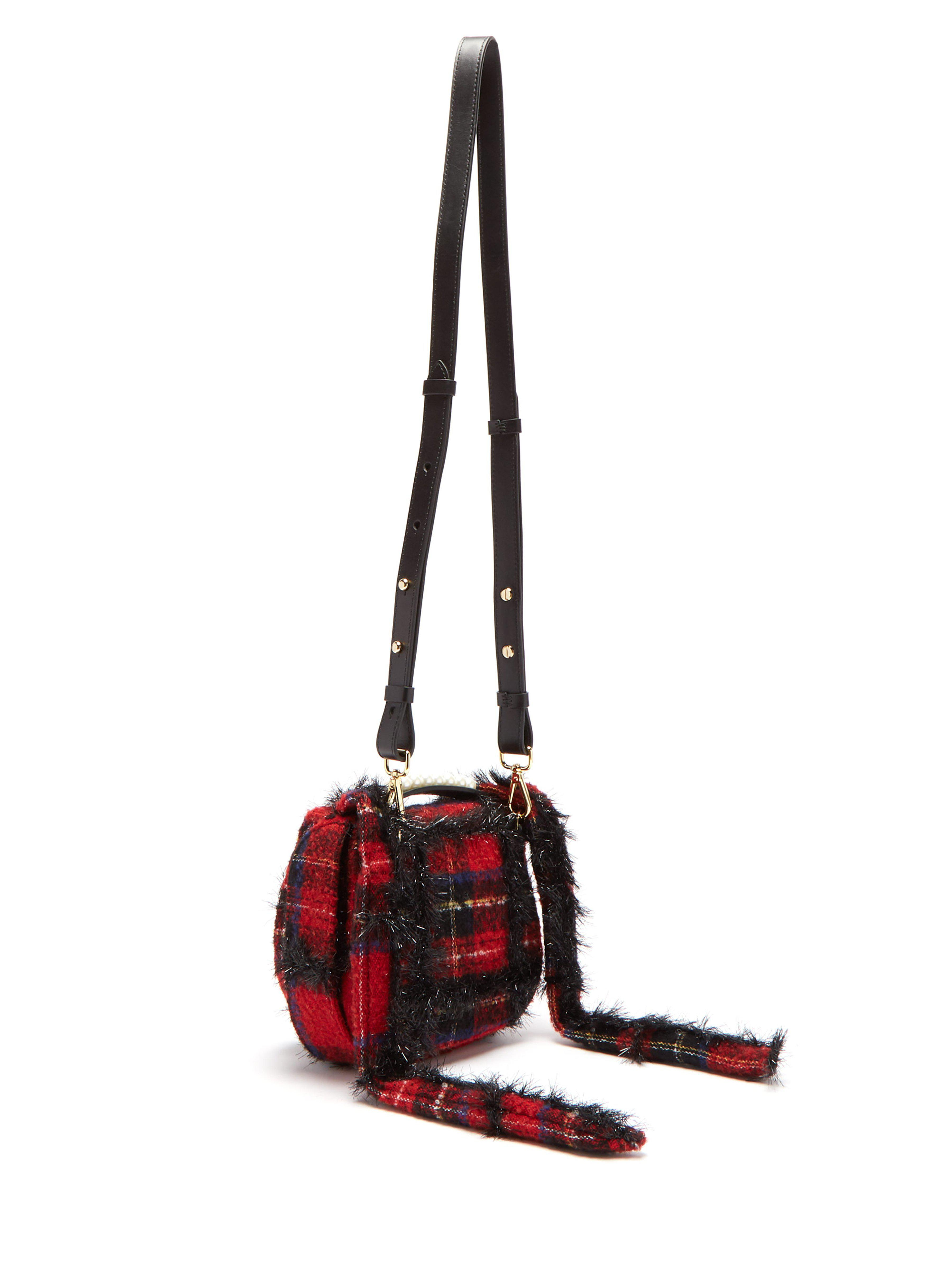 Simone Rocha Leather Embellished Tartan Pearly Crossbody Bag in Red