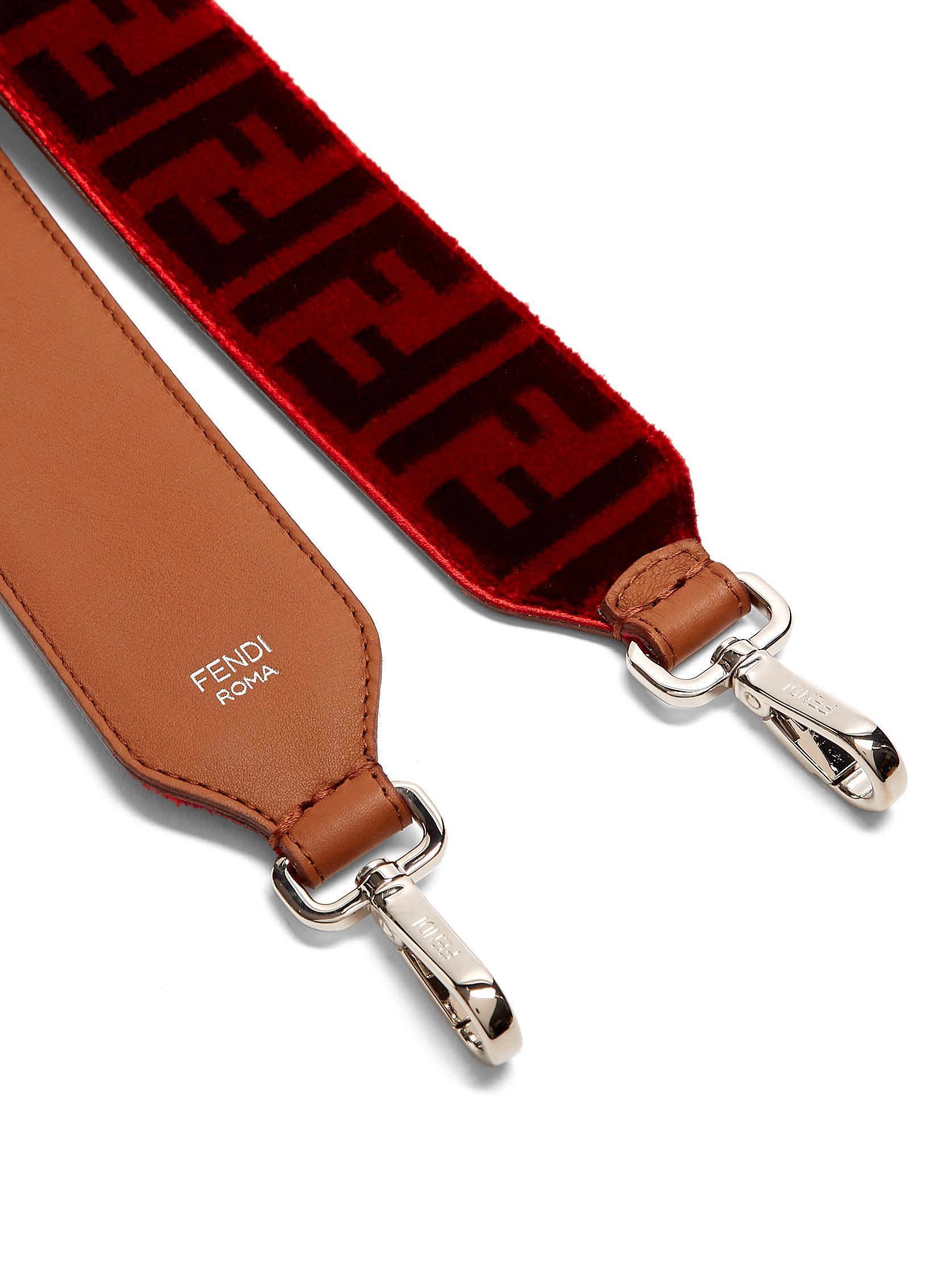 b2be27eaf322 Lyst - Fendi Strap You Logo-print Velvet Bag Strap in Red