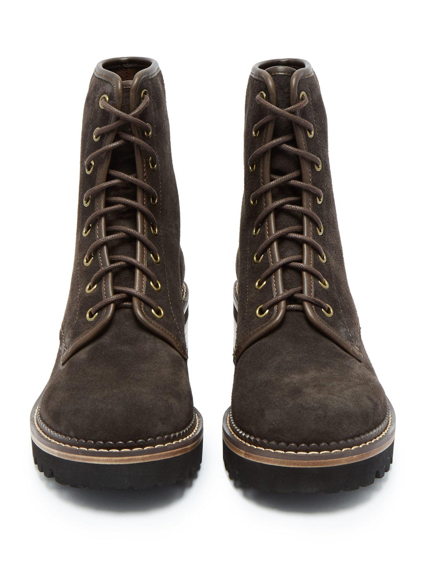 29b7fb5a6c9 See By Chloé Gray Mozart Suede Lace-up Ankle Boots